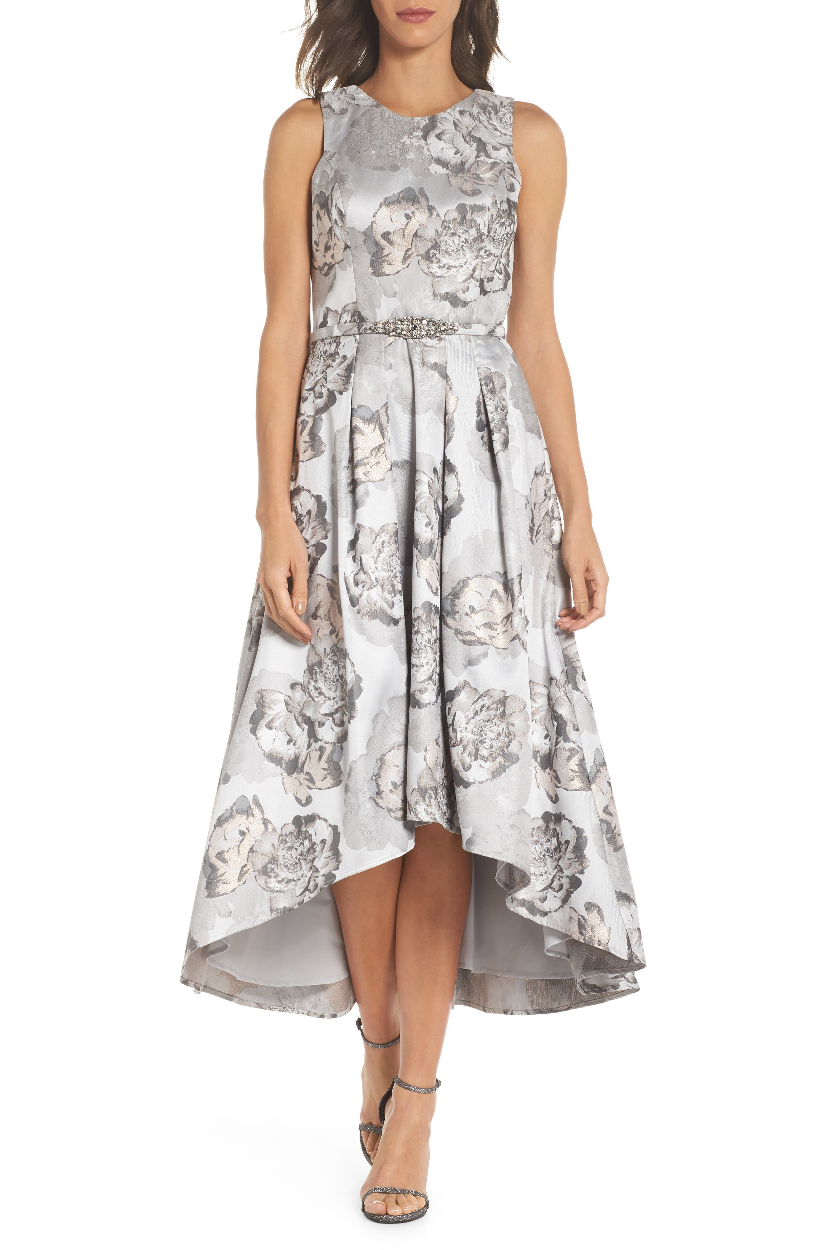 High/Low Gown,                             Main thumbnail 1, color,                             Pale Grey