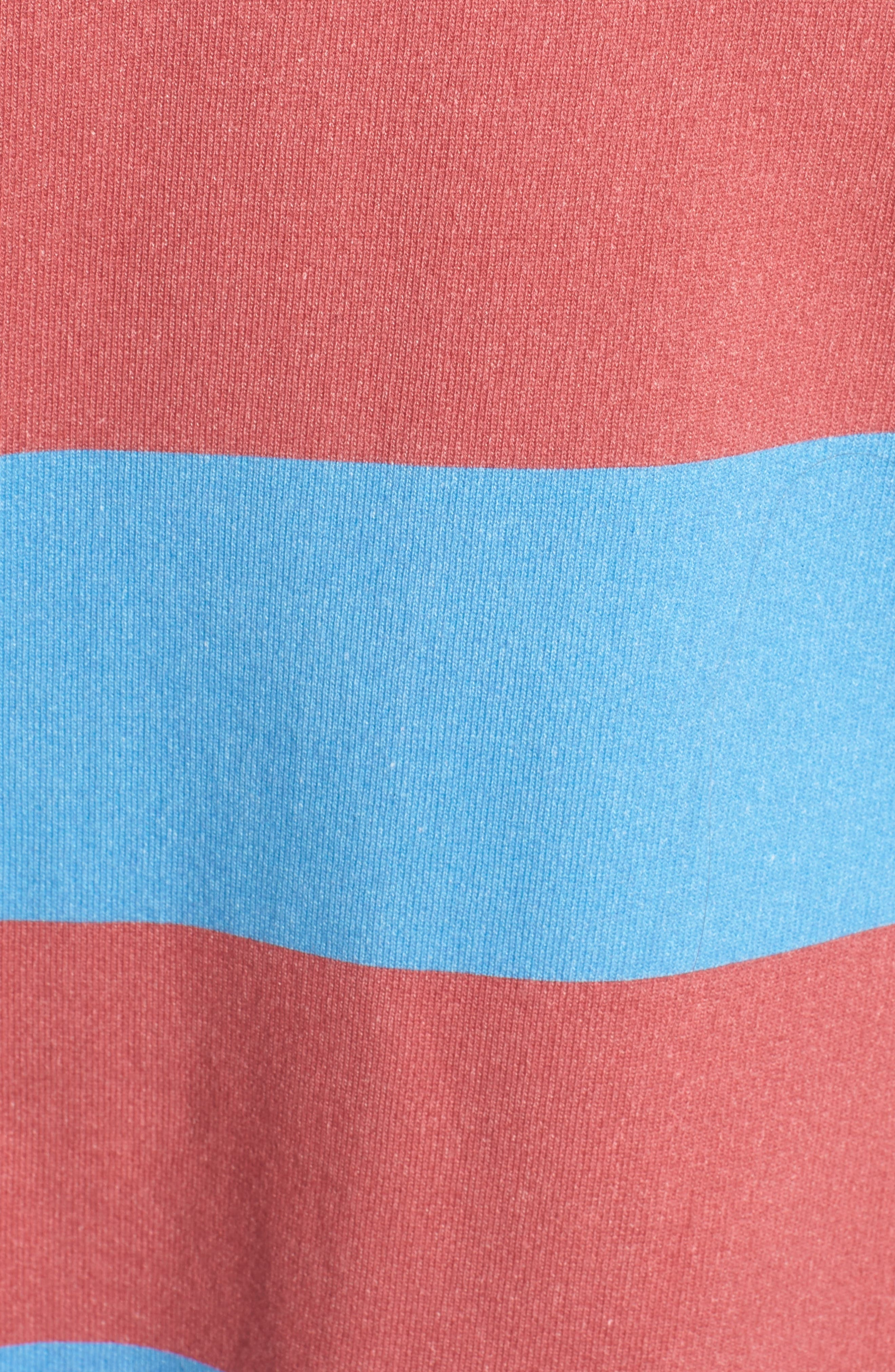 Stripe Crewneck Sweatshirt,                             Alternate thumbnail 6, color,                             Red Rugby 5 Vintage Year Wash