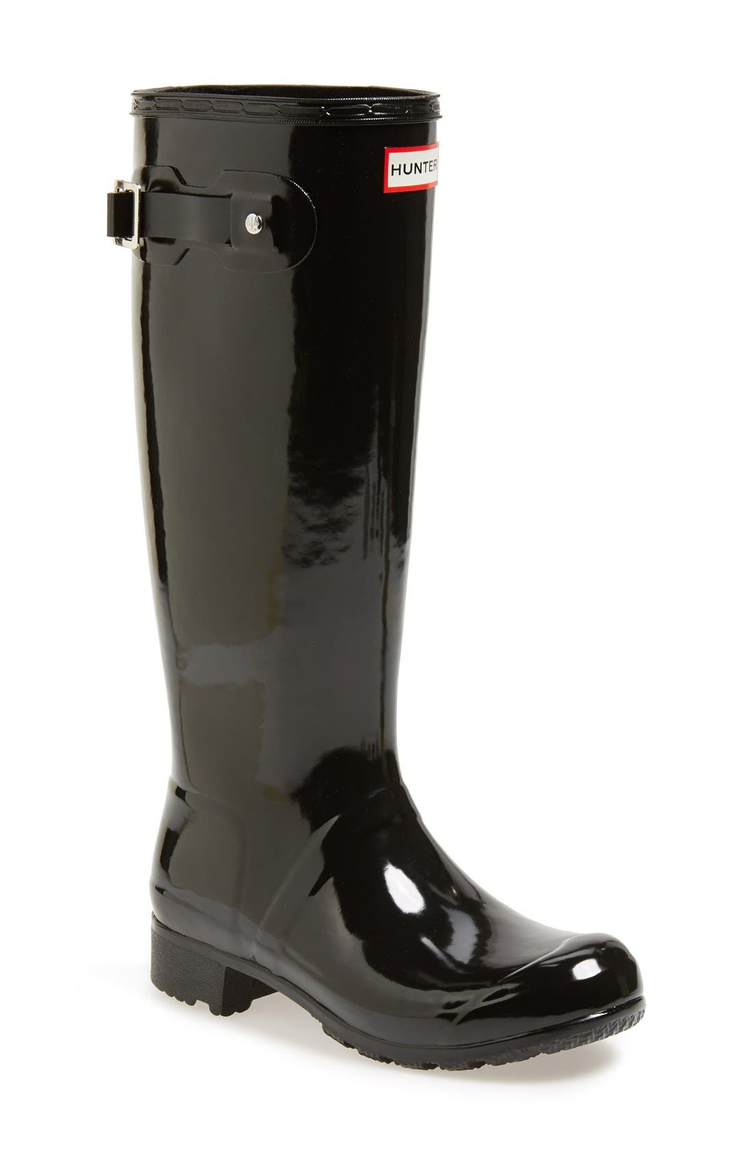 Original Tour Gloss Packable Rain Boot,                             Main thumbnail 1, color,                             Black