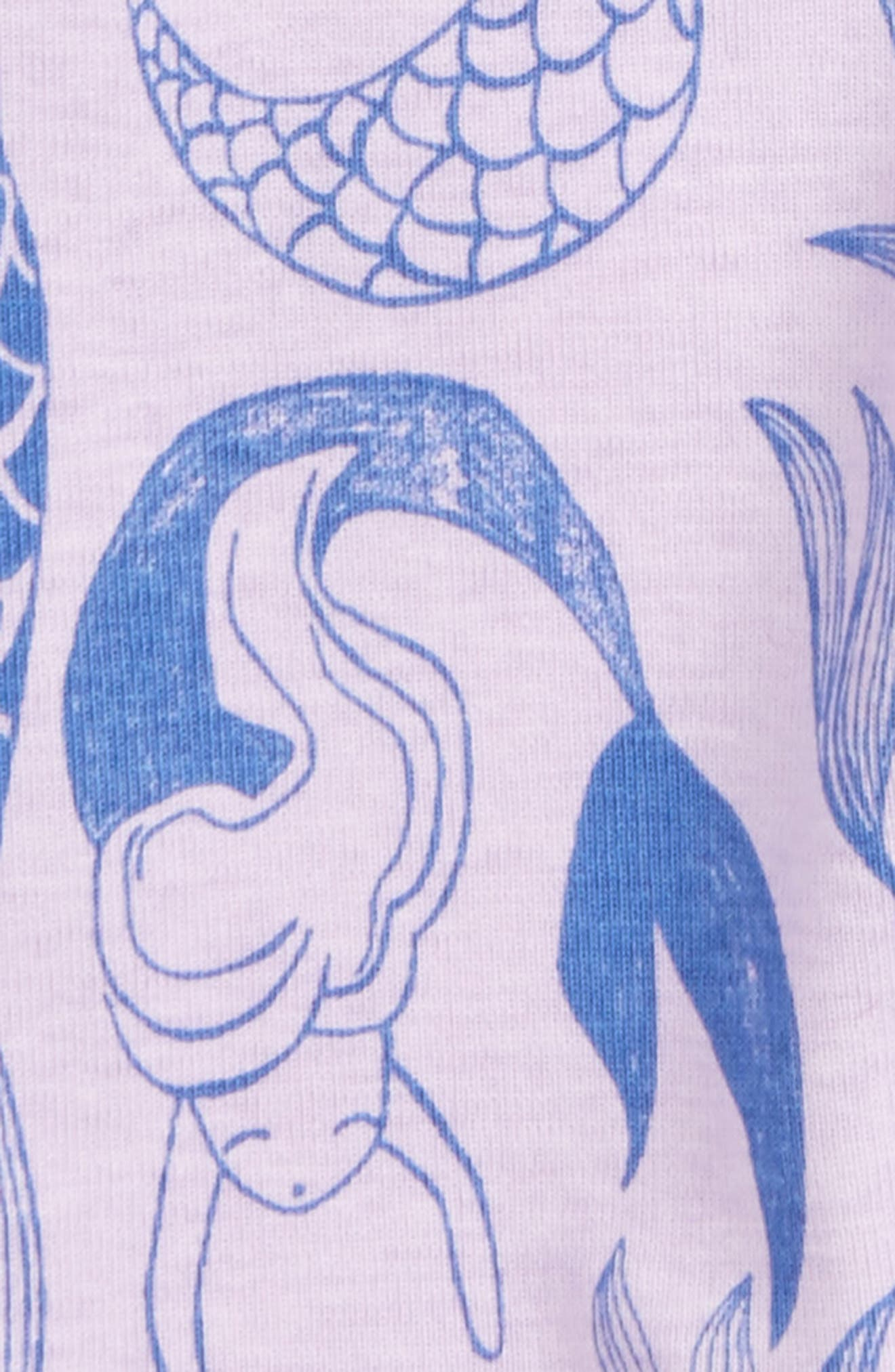 Short Sleeve Fitted One-Piece Pajamas,                             Alternate thumbnail 2, color,                             Mermaids