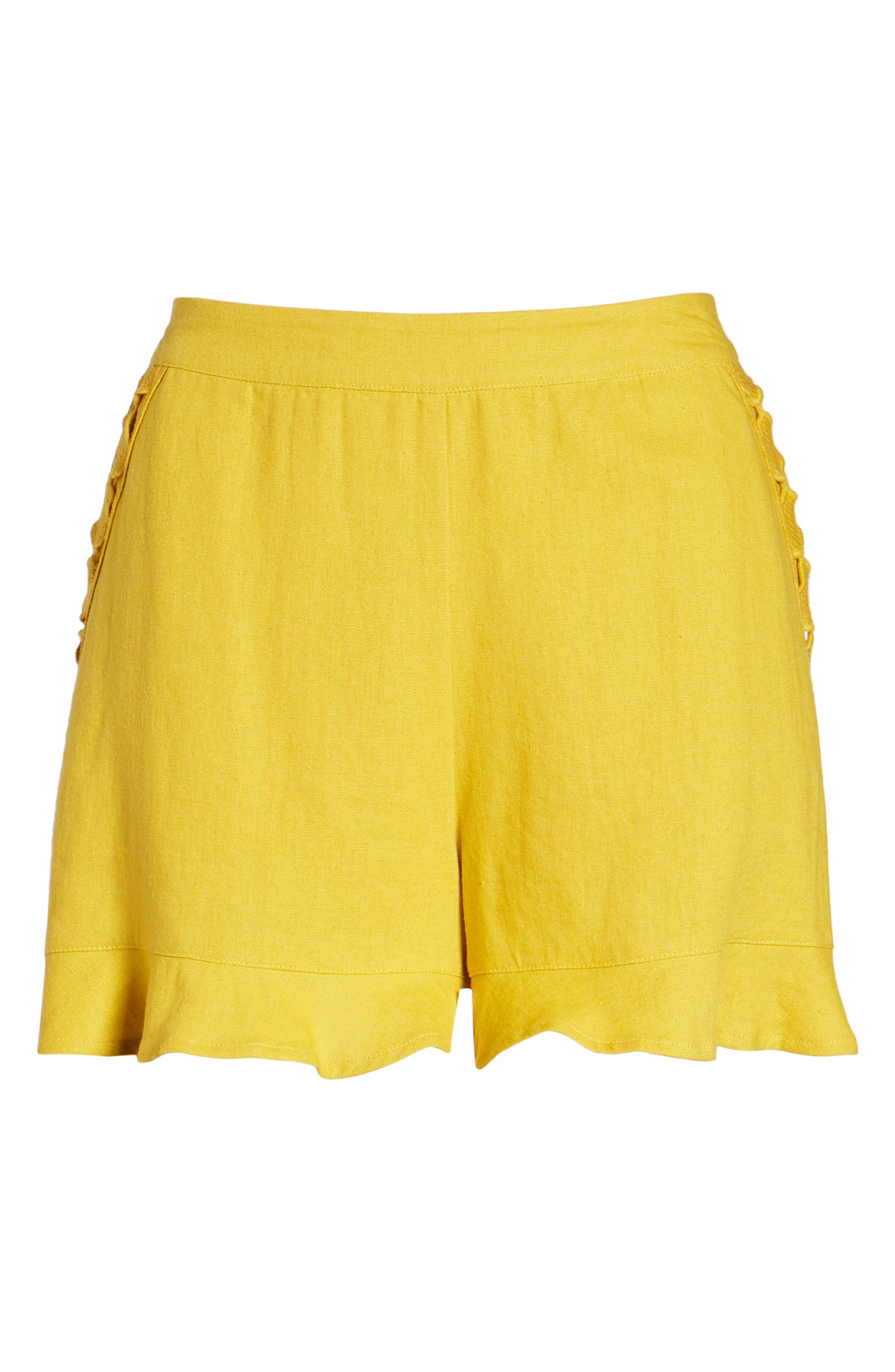 High Rise Ruffle Shorts,                             Alternate thumbnail 6, color,                             Mustard