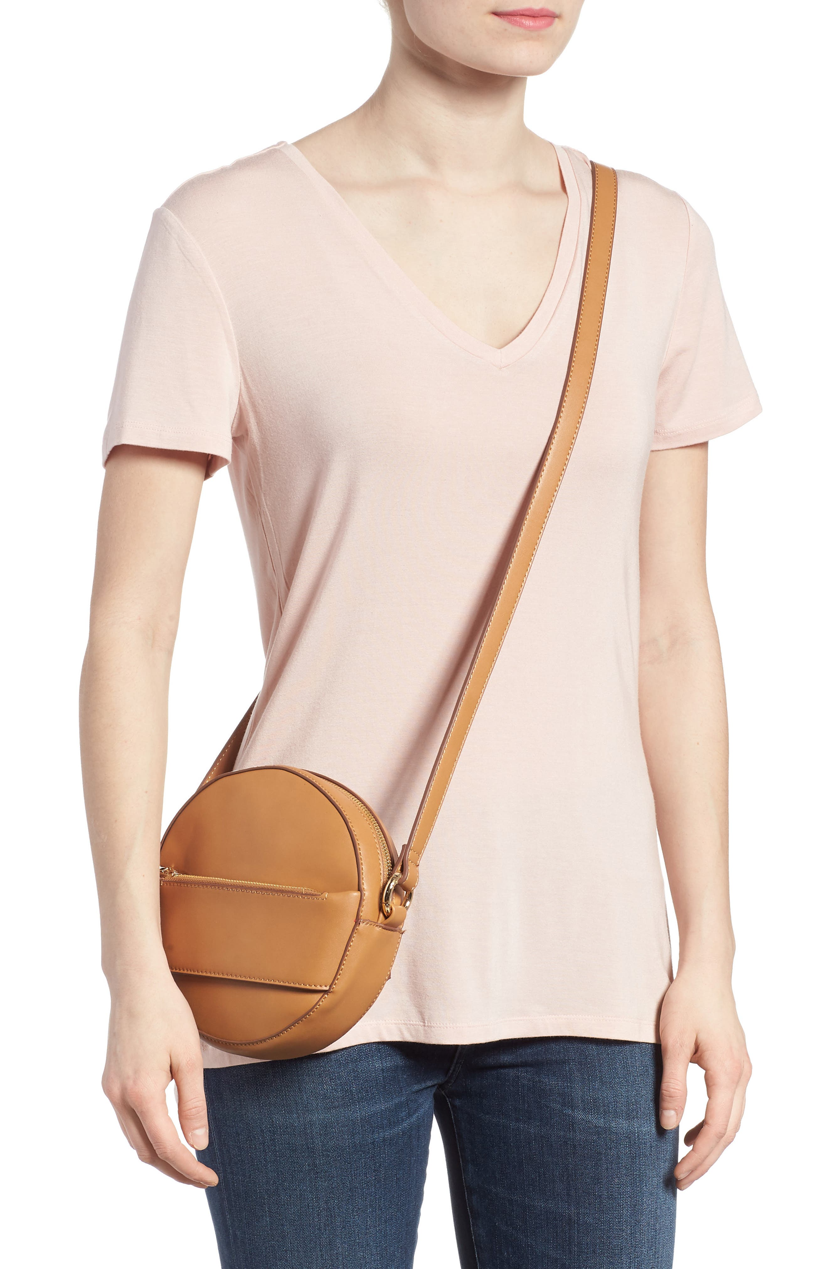 Faux Leather Canteen Crossbody Bag,                             Alternate thumbnail 2, color,                             Camel