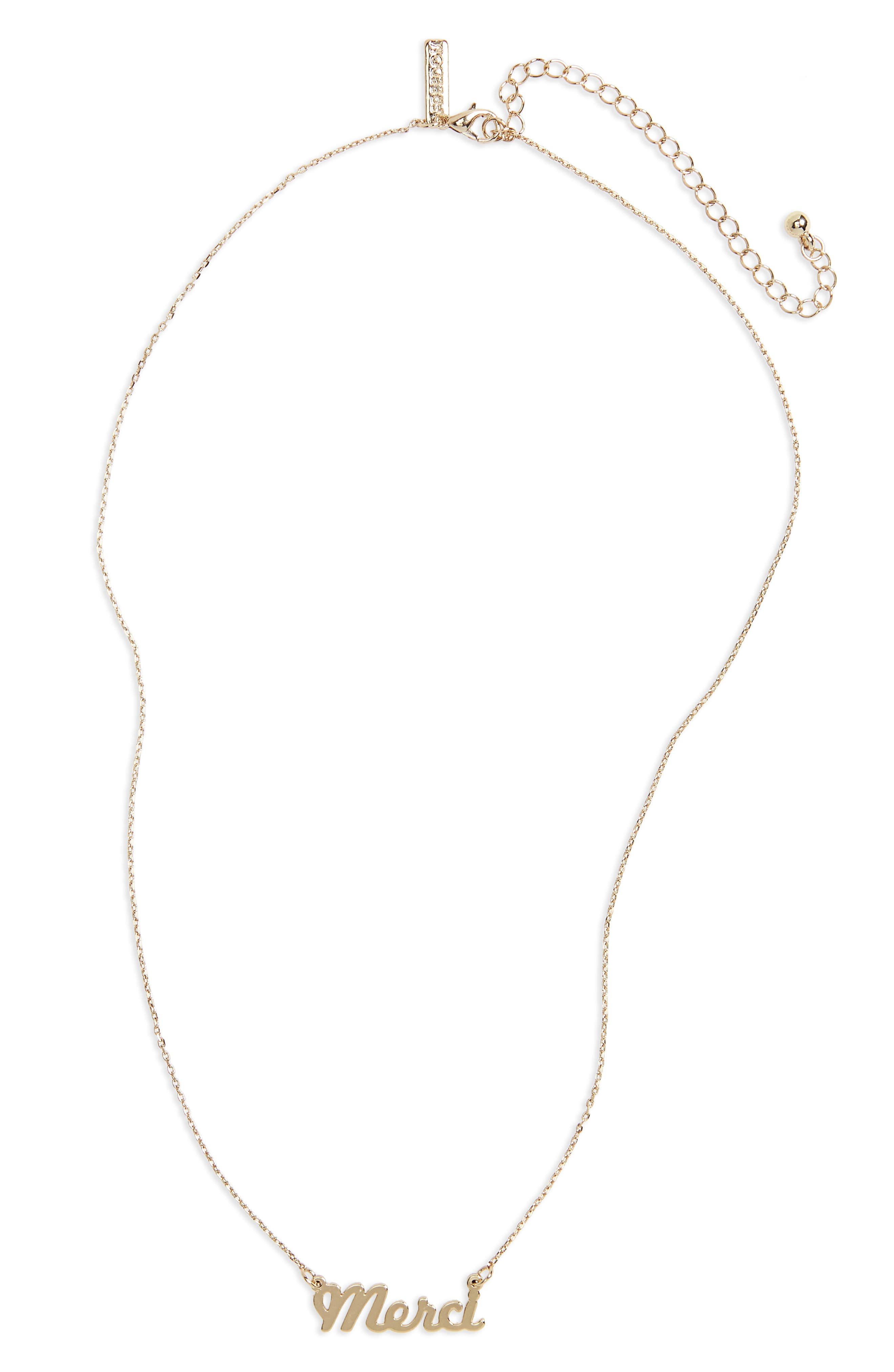 Merci Ditsy Necklace,                         Main,                         color, Gold