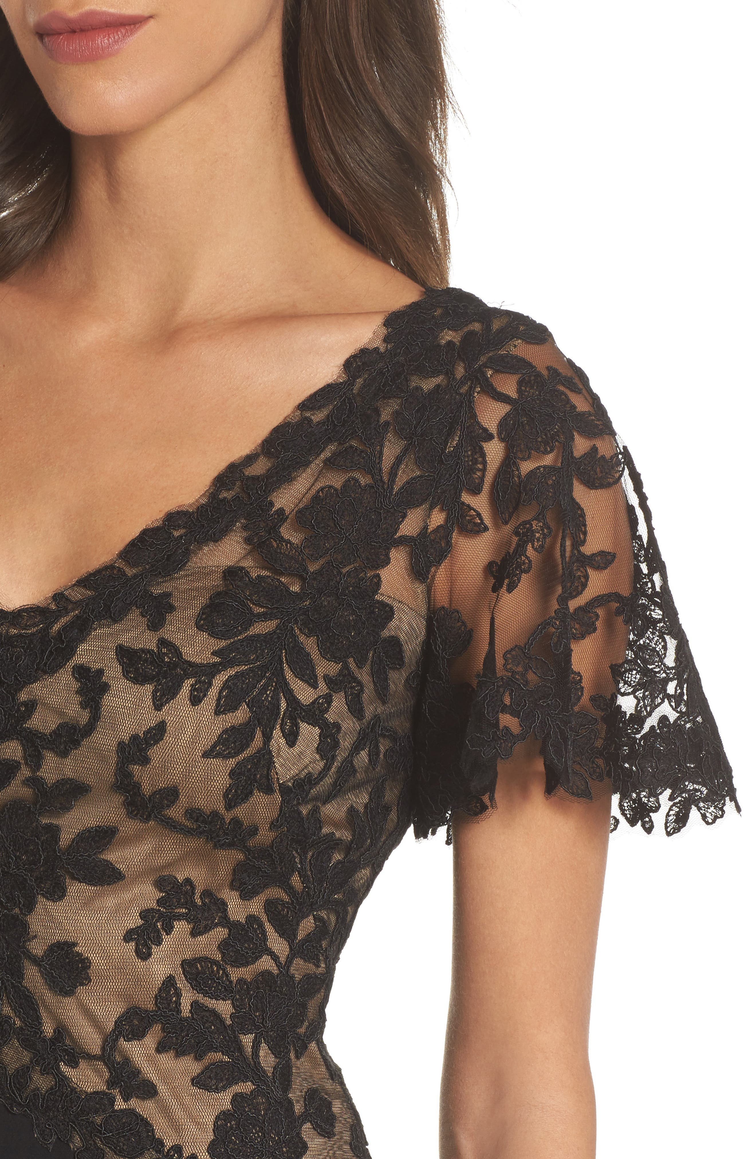 Lace & Crepe Gown,                             Alternate thumbnail 4, color,                             Black Nude