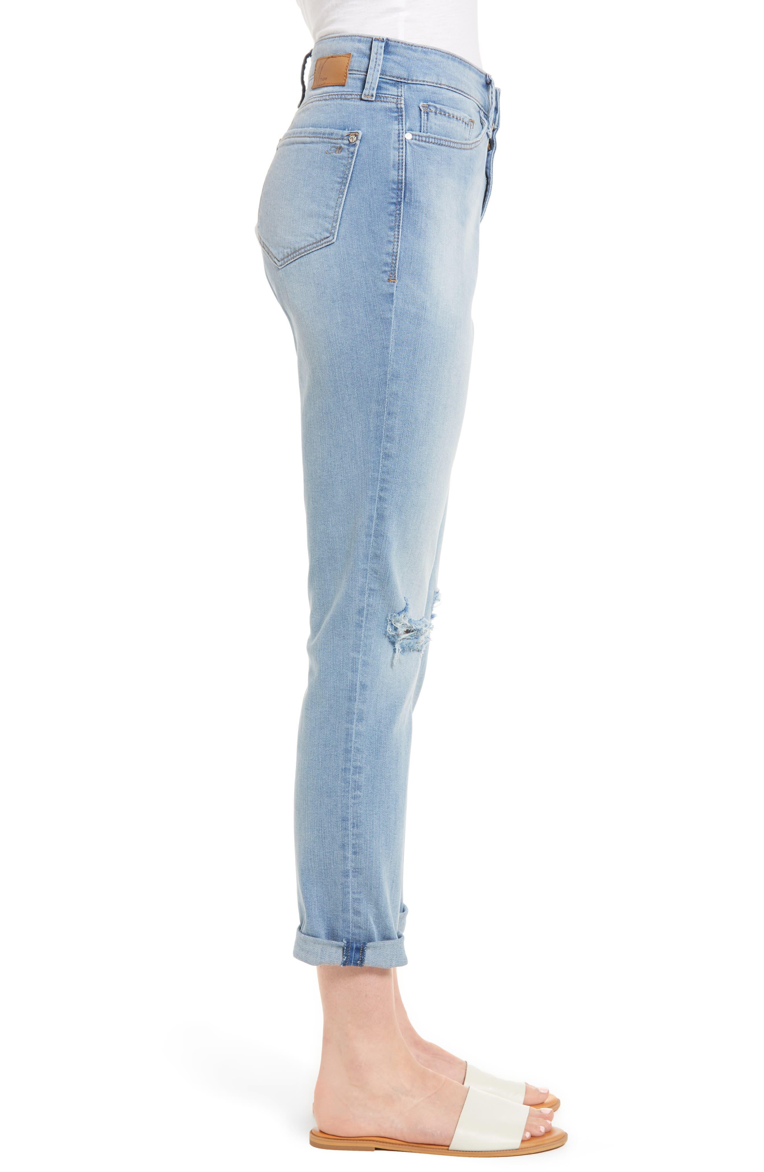 Lea Boyfriend Ripped Jeans,                             Alternate thumbnail 3, color,                             Light Ripped Vintage