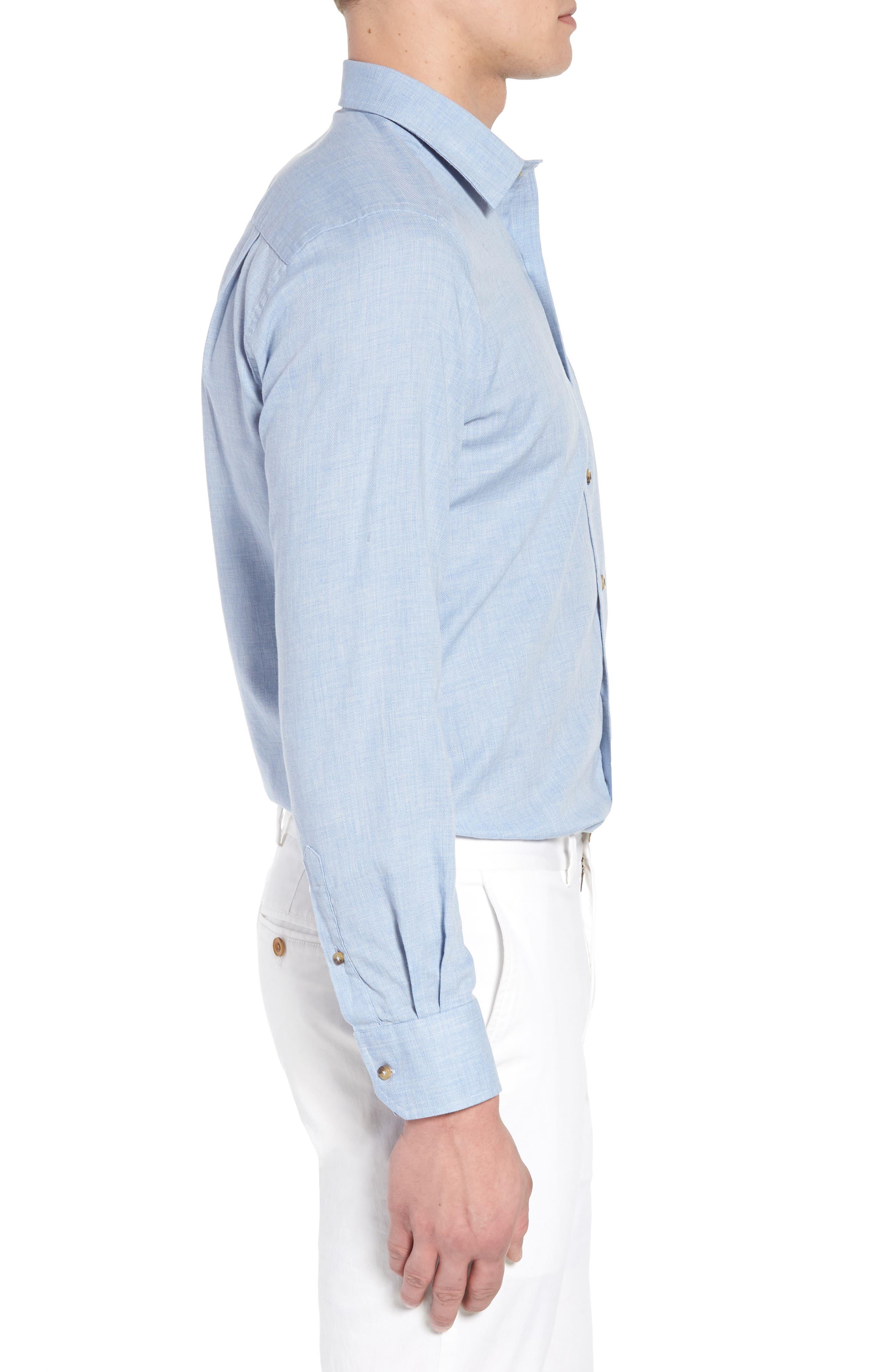 Regular Fit Garment Washed Mélange Sport Shirt,                             Alternate thumbnail 3, color,                             Sky
