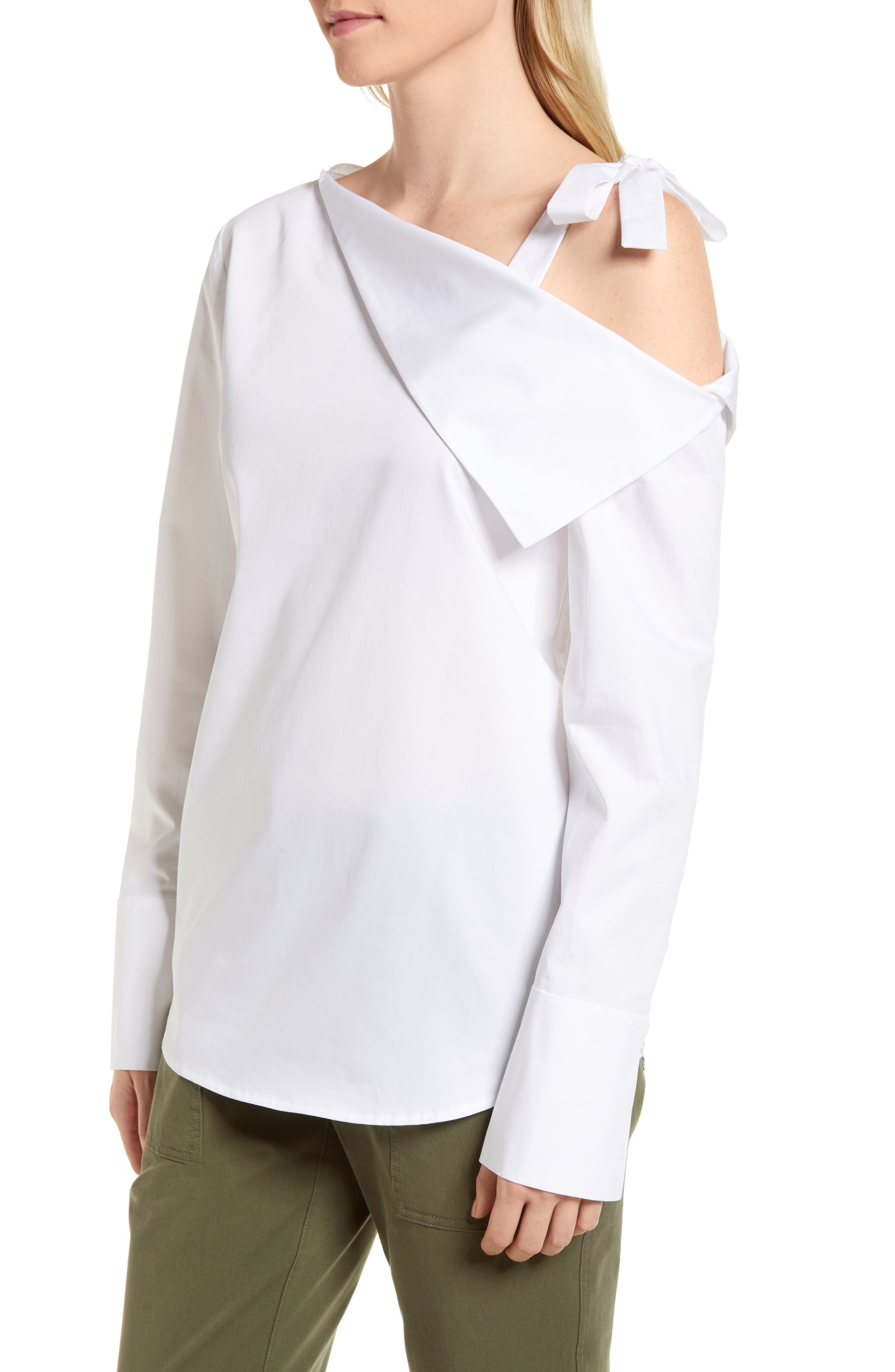 One-Shoulder Shirt,                             Alternate thumbnail 3, color,                             White