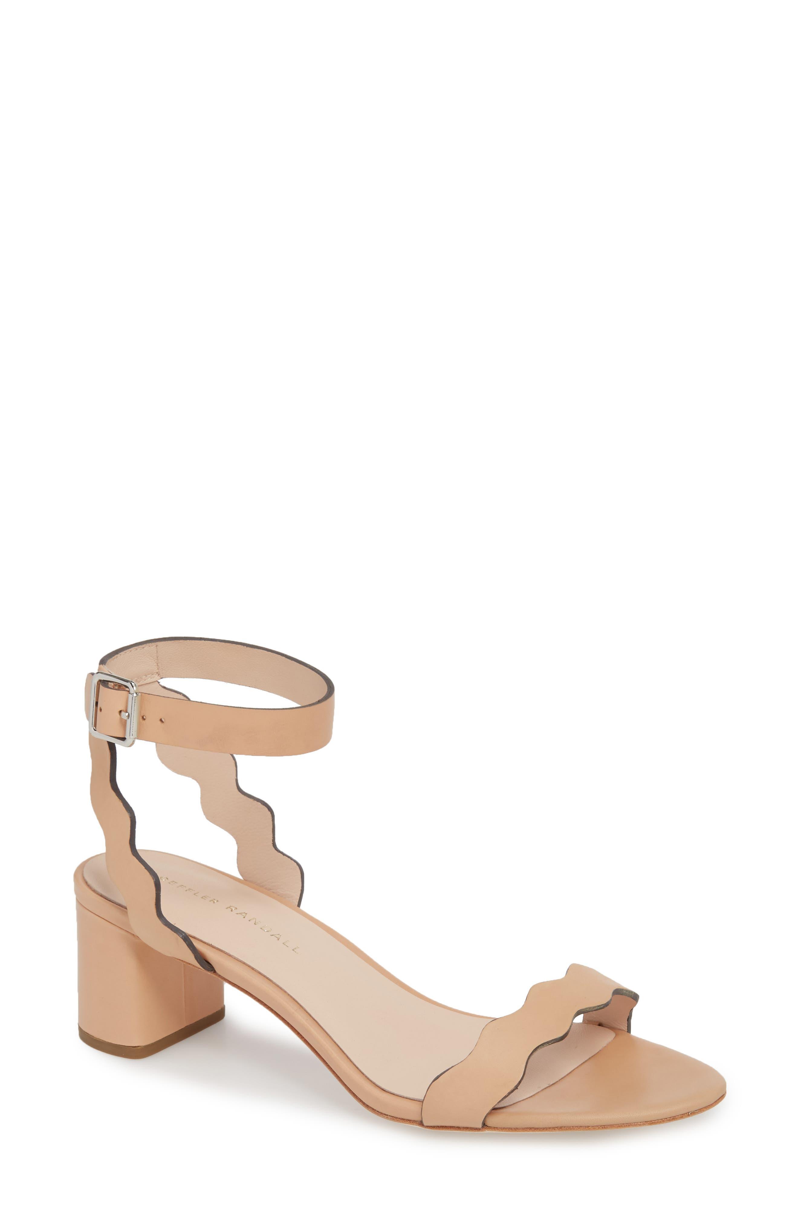 Emi Scalloped Sandal,                             Main thumbnail 1, color,                             Wheat