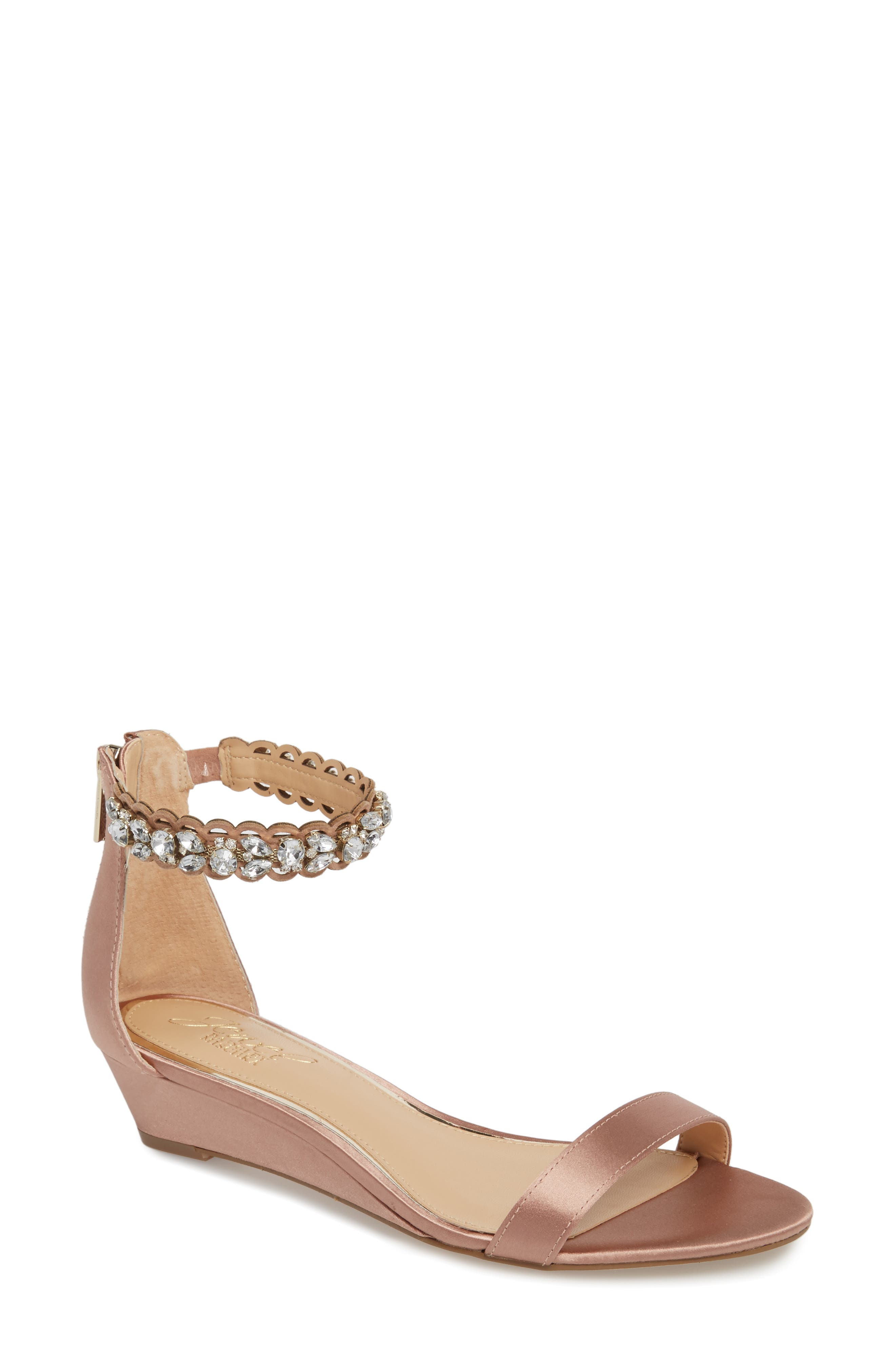 Ginger Wedge Sandal,                             Main thumbnail 1, color,                             Dark Blush