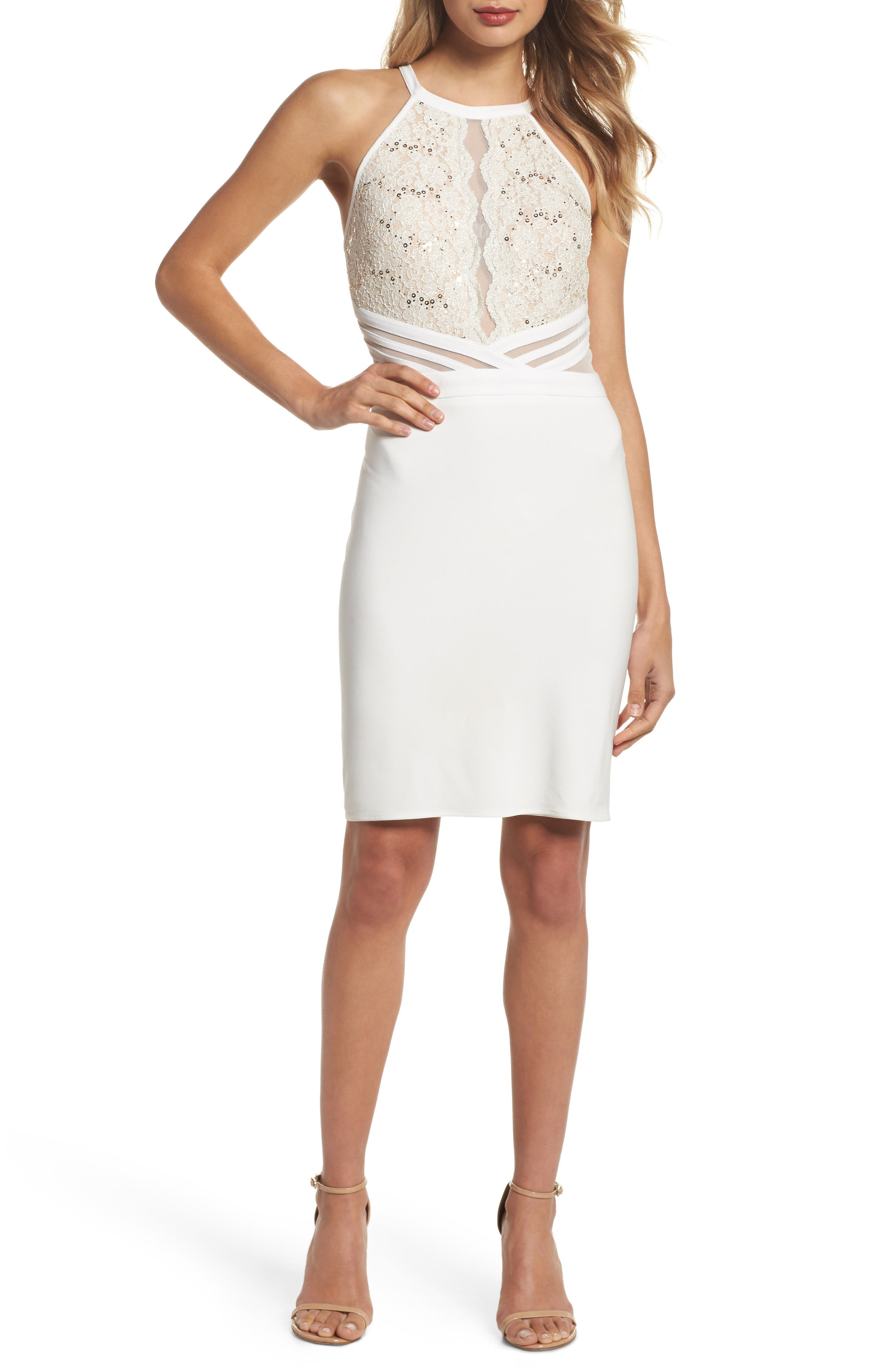 Scallop Lace Bodice Body-Con Dress,                             Main thumbnail 1, color,                             Ivory/ Nude
