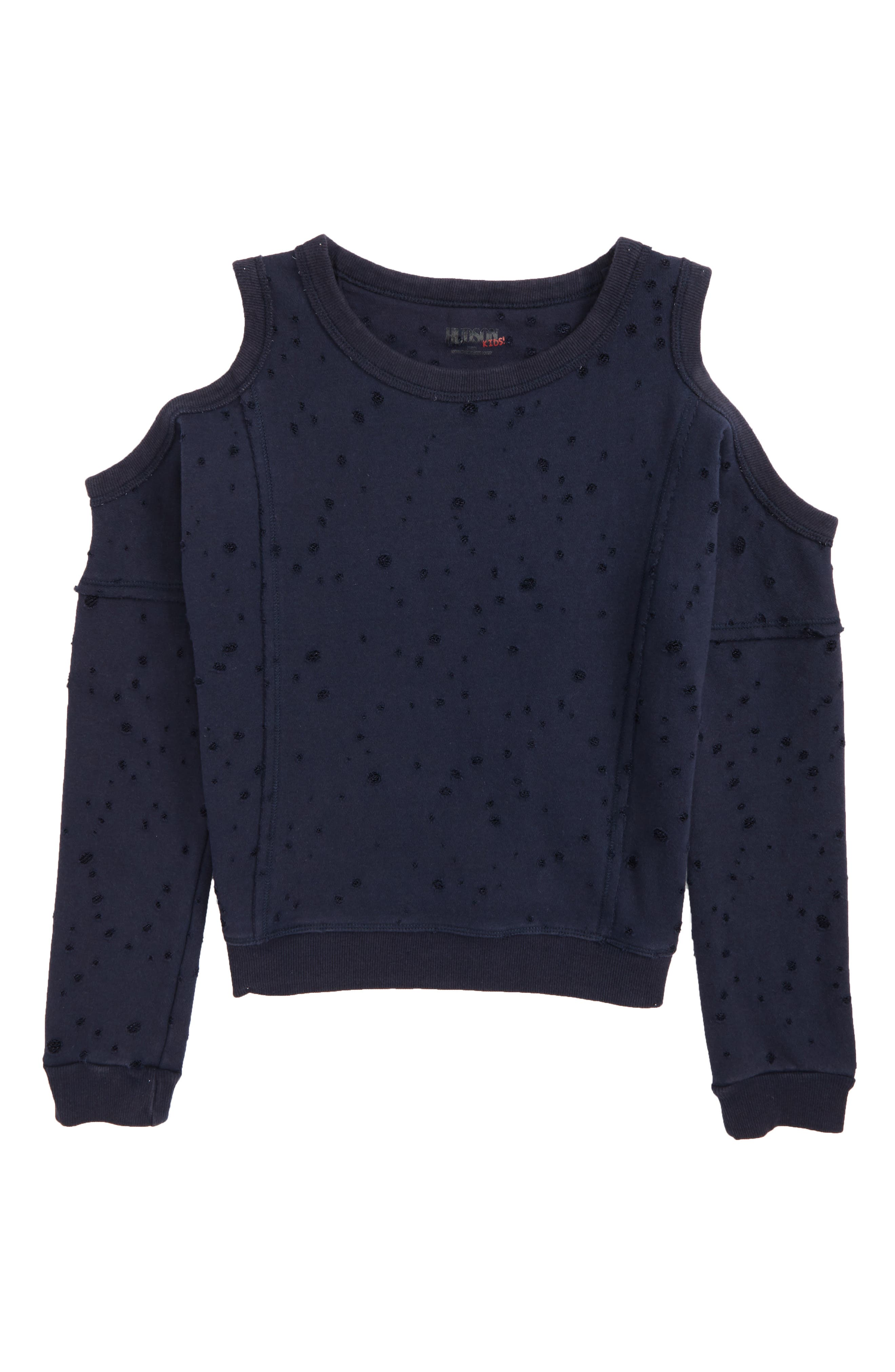 Distressed Cold Shoulder Sweatshirt,                             Main thumbnail 1, color,                             Crackle