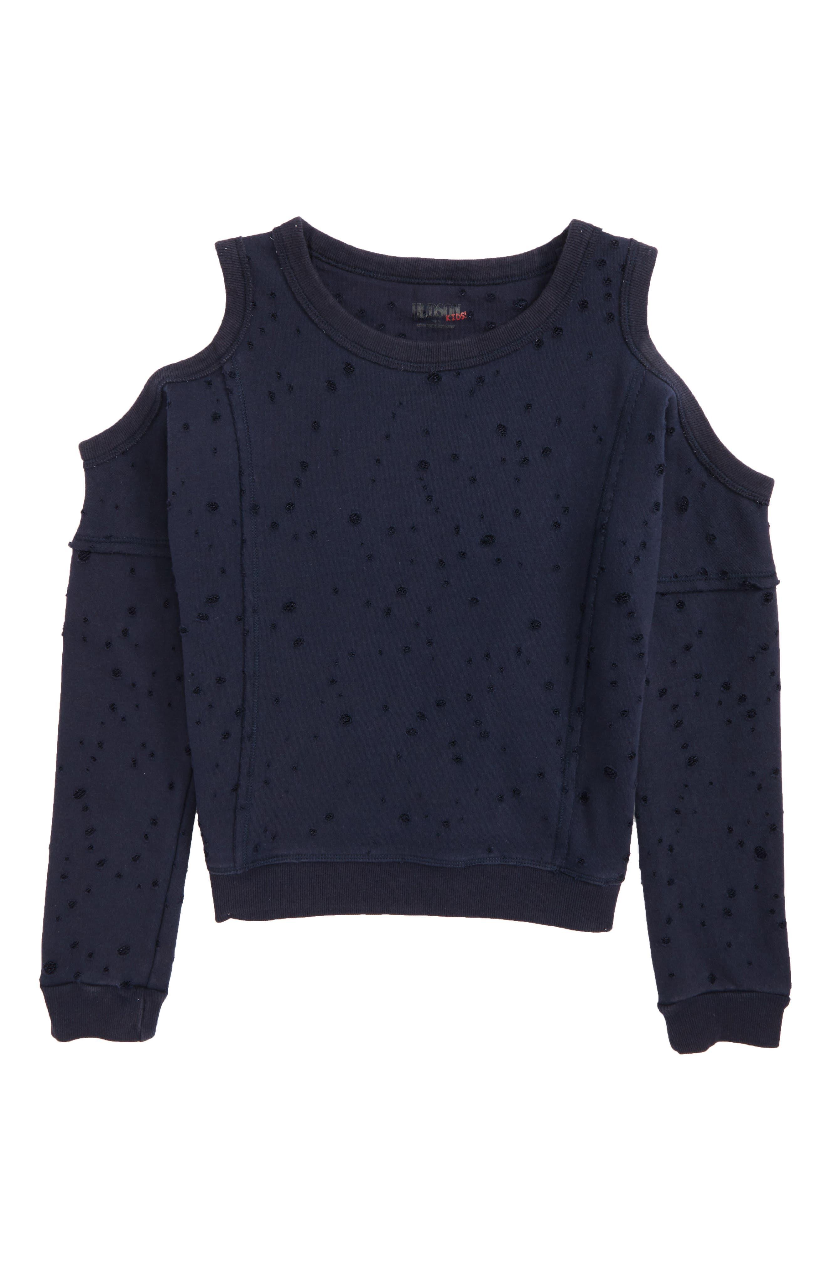 Distressed Cold Shoulder Sweatshirt,                         Main,                         color, Crackle