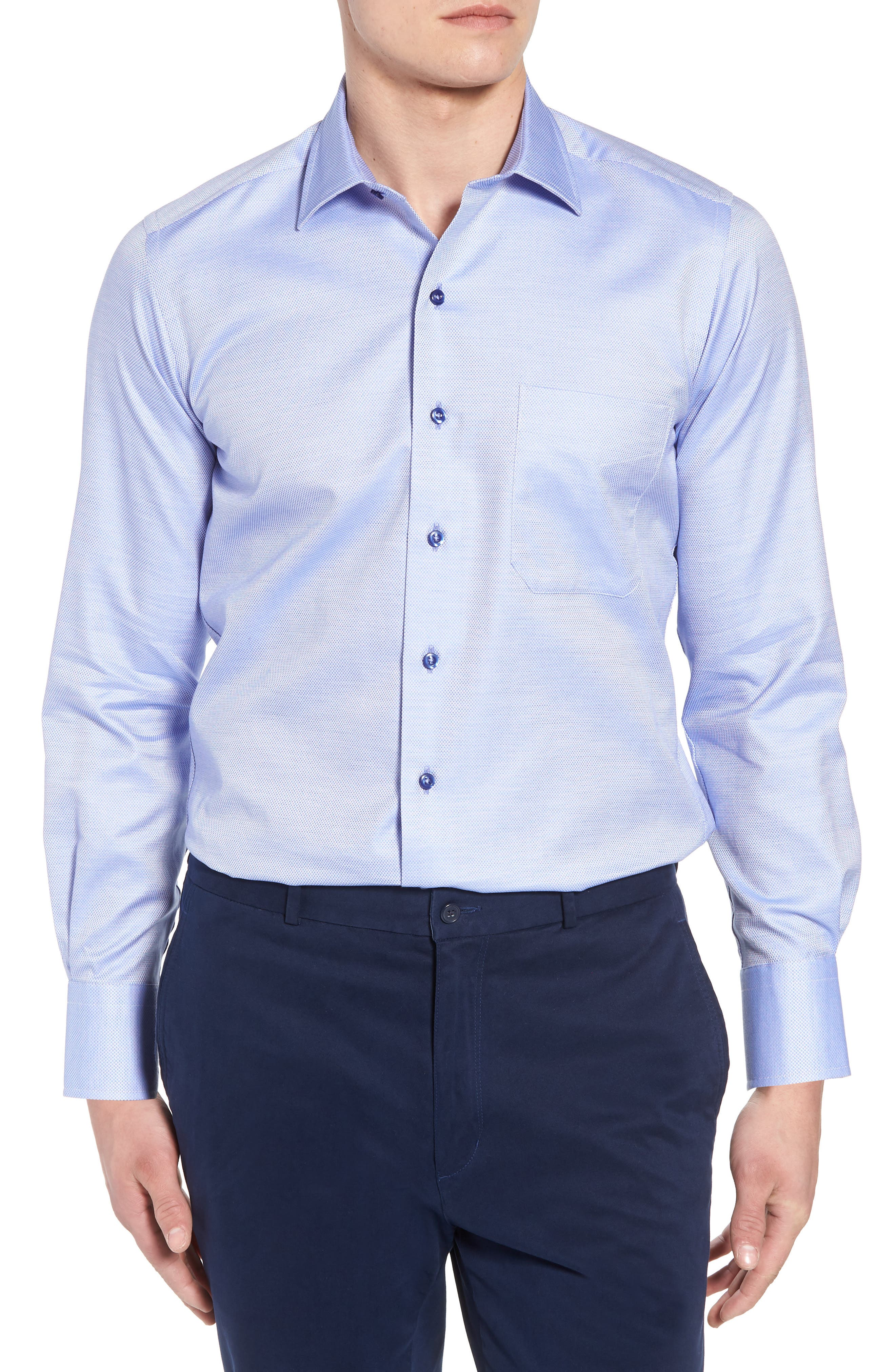 Micro Diamond Regular Fit Sport Shirt,                         Main,                         color, Blue