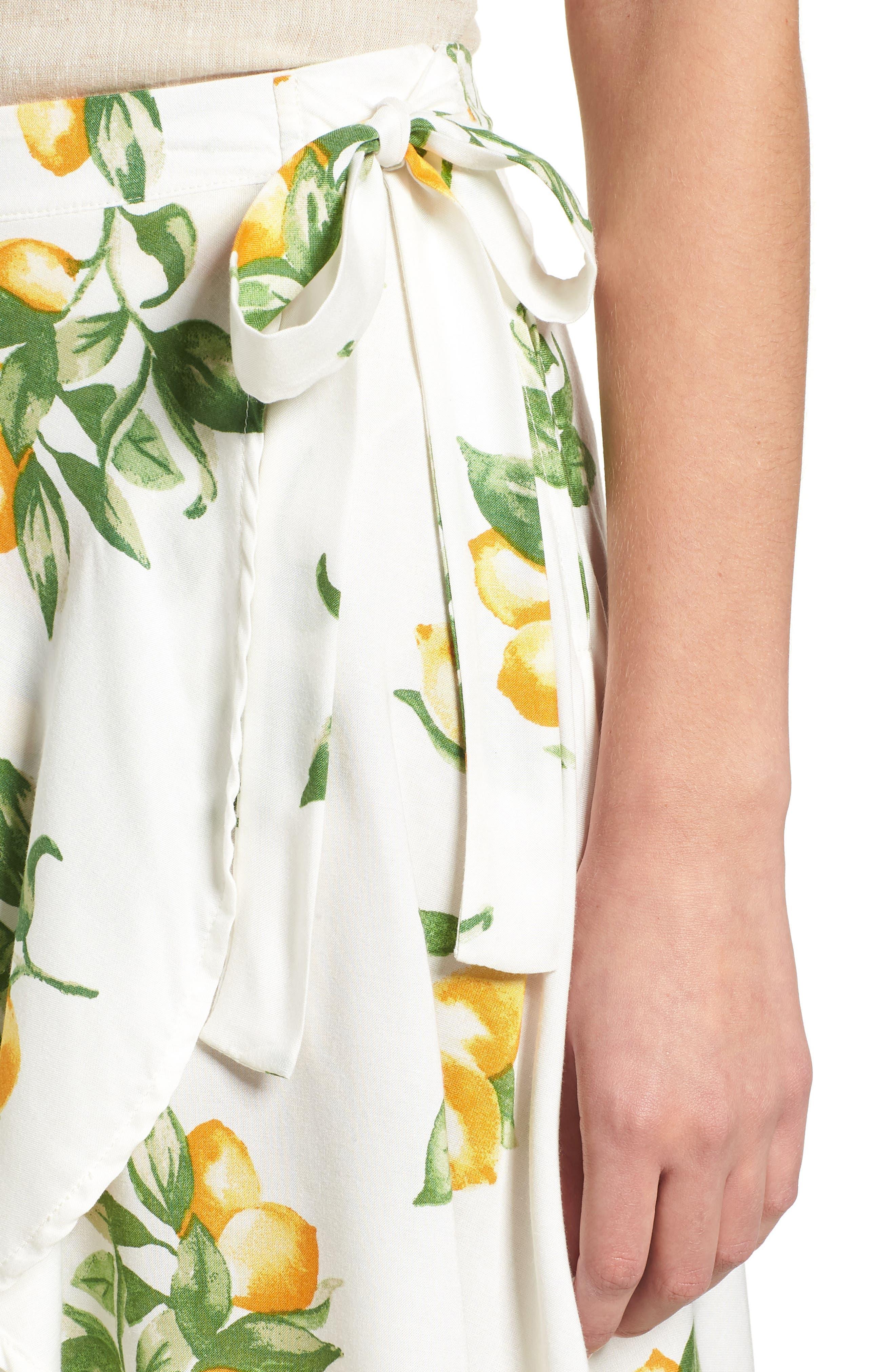 Fruit Print Side Tie Skirt,                             Alternate thumbnail 4, color,                             Ivory Lemon Print