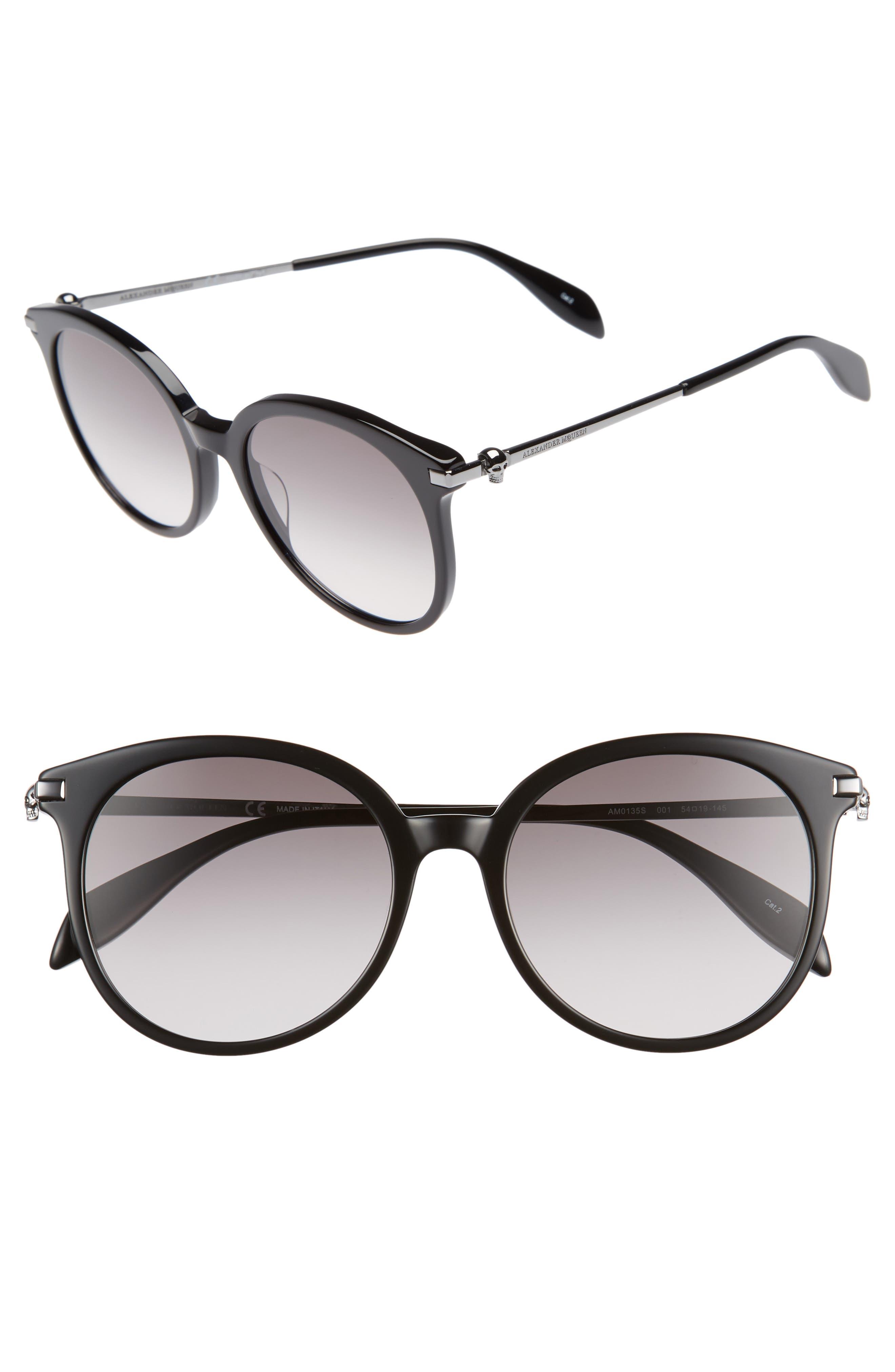 54mm Gradient Lens Round Sunglasses,                         Main,                         color, Dark Ruthenium/ Black