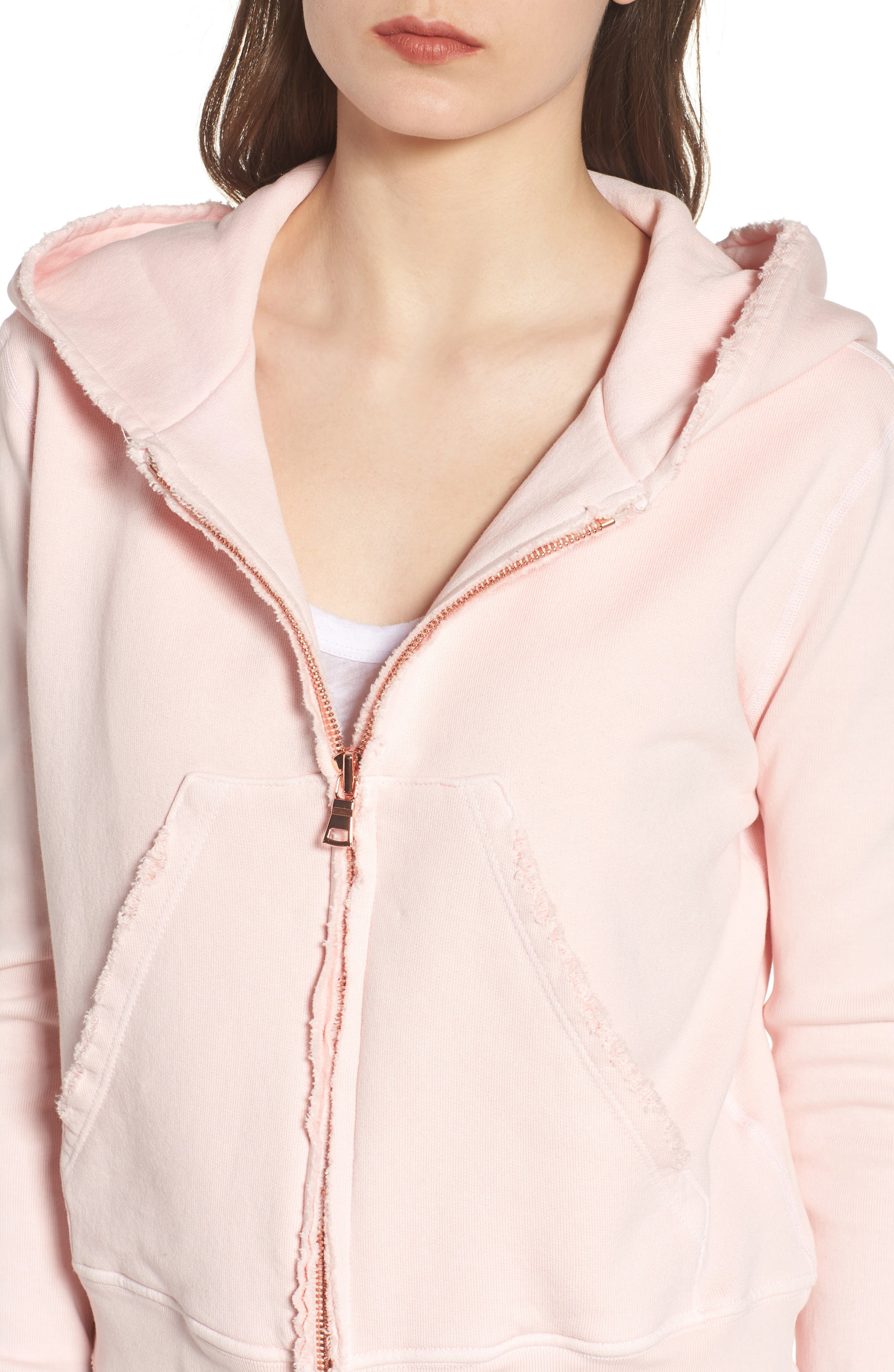 Distressed Zip Hoodie,                             Alternate thumbnail 4, color,                             Love Letter