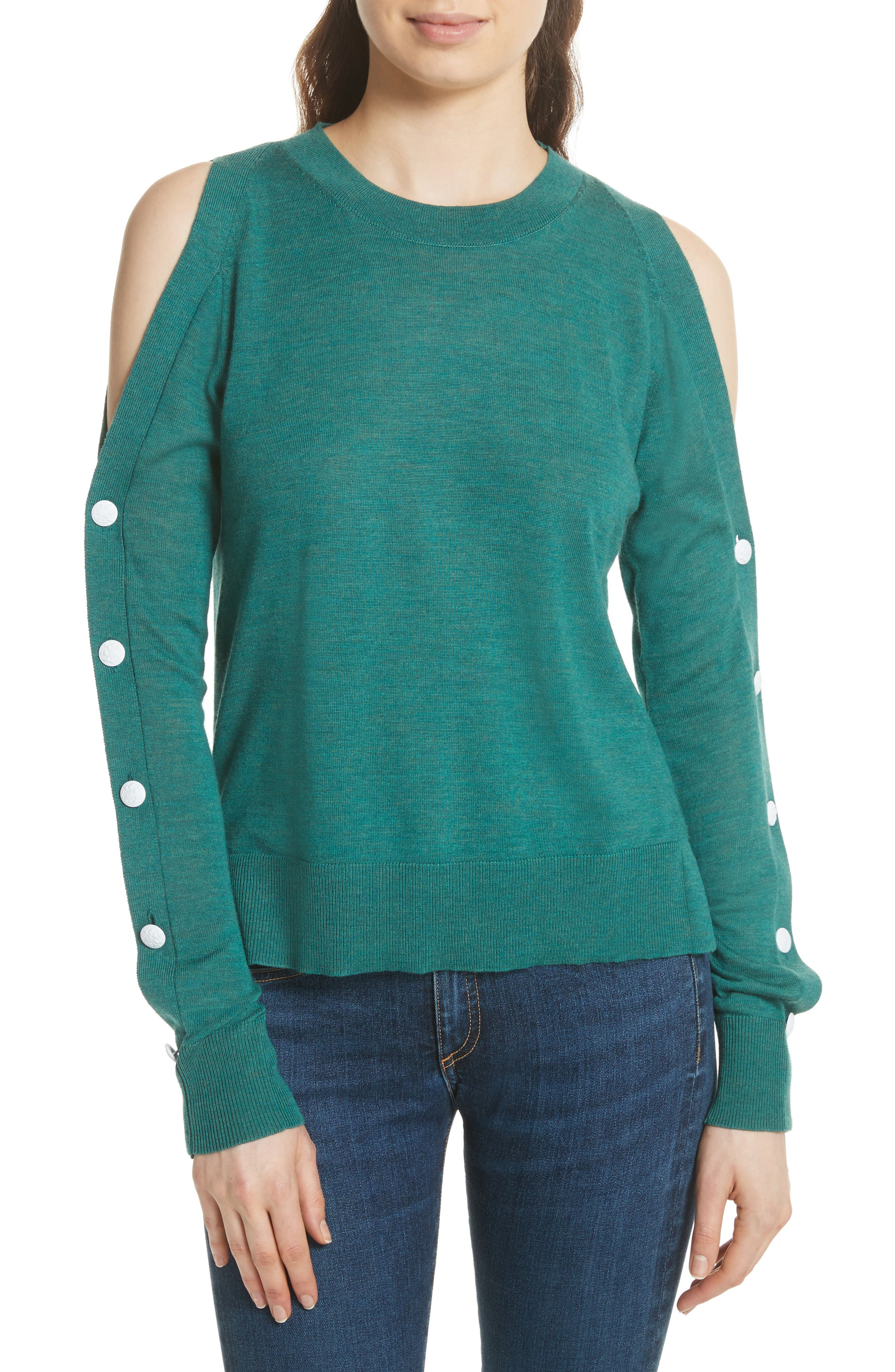 Veda Button Sleeve Cold Shoulder Wool Sweater,                             Main thumbnail 1, color,                             Green