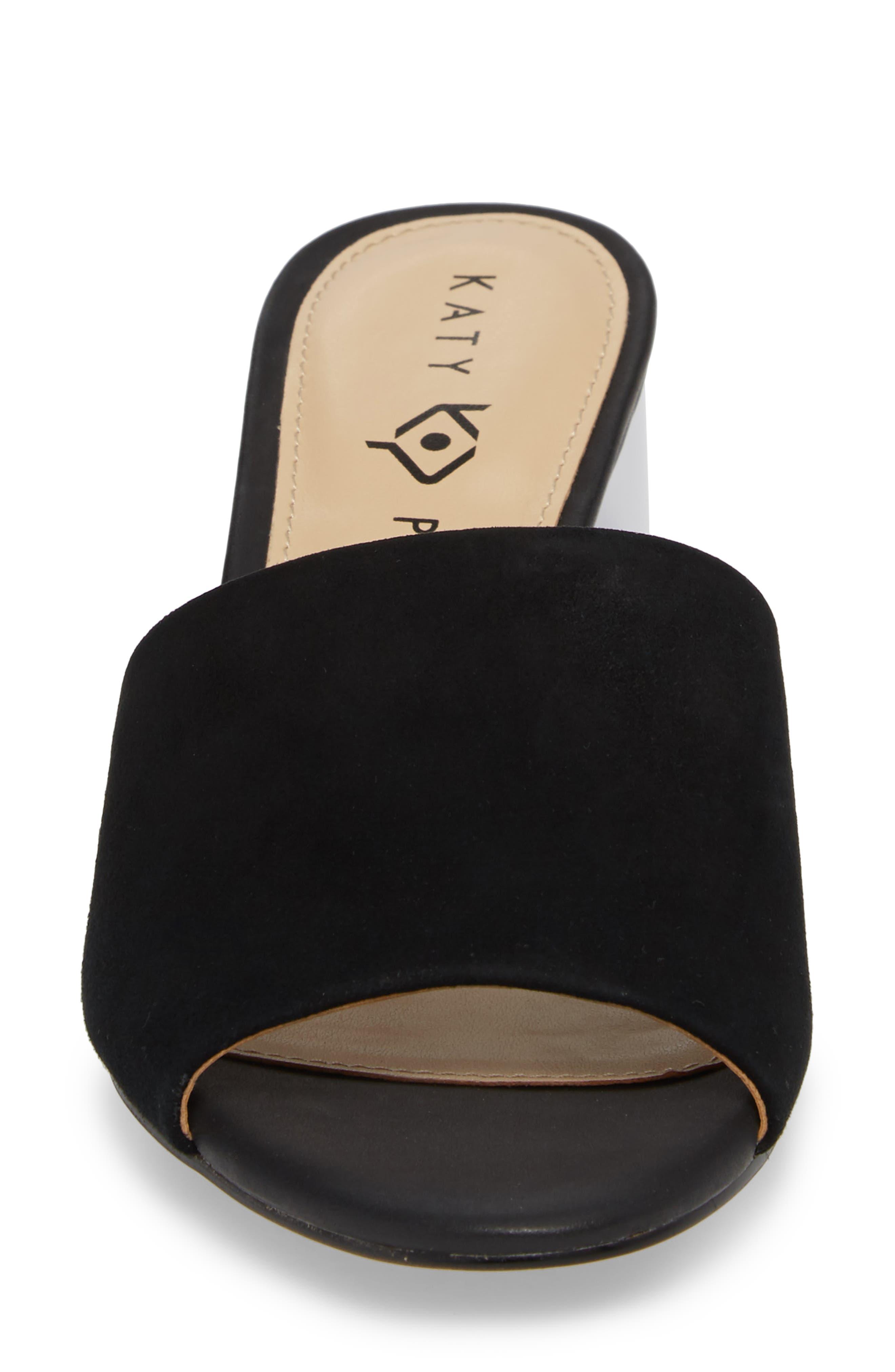 The Kaitlynn Slide Sandal,                             Alternate thumbnail 4, color,                             Black Suede