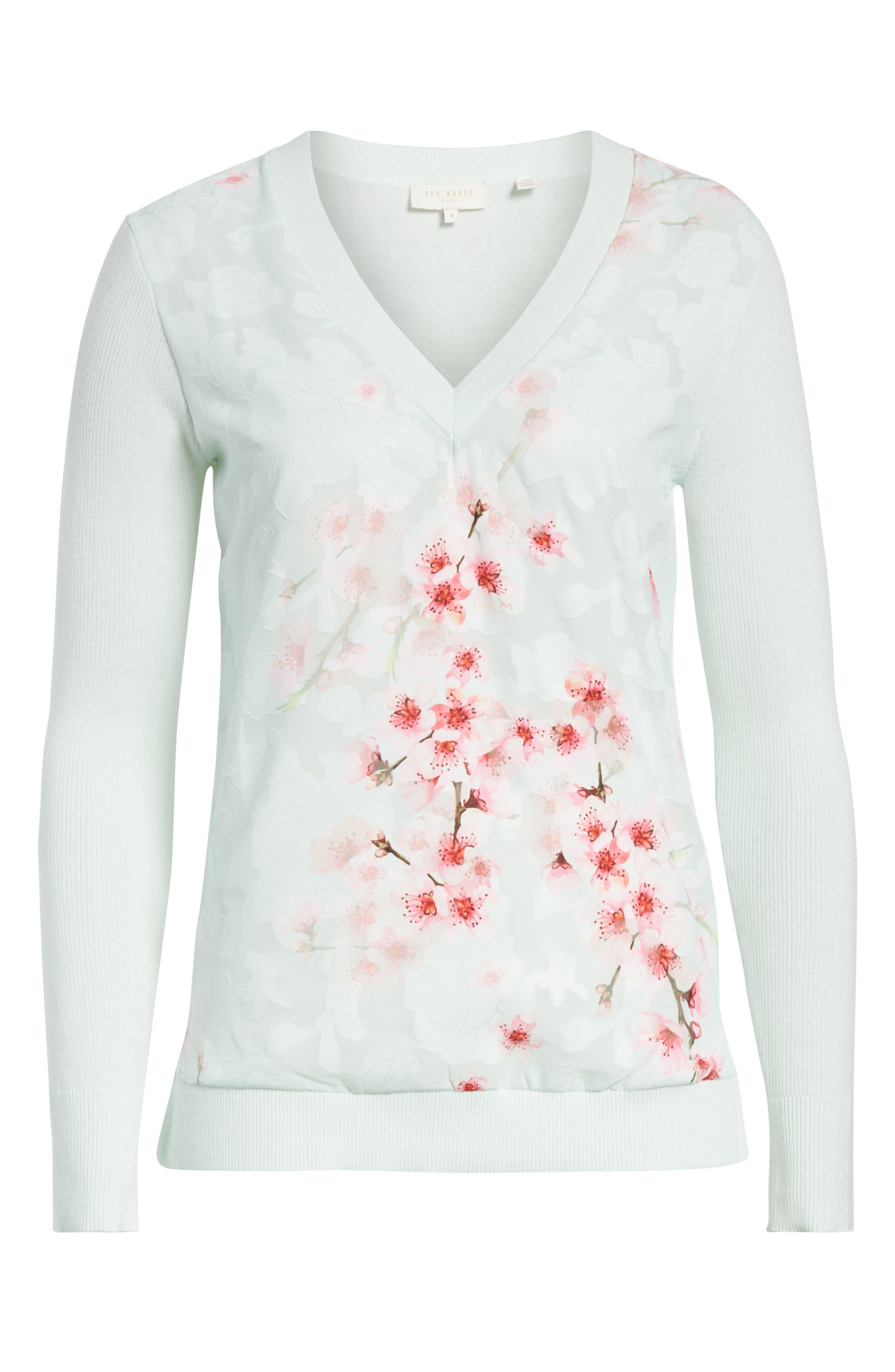 Soft Blossom Burnout Front Sweater,                             Alternate thumbnail 6, color,                             Mint
