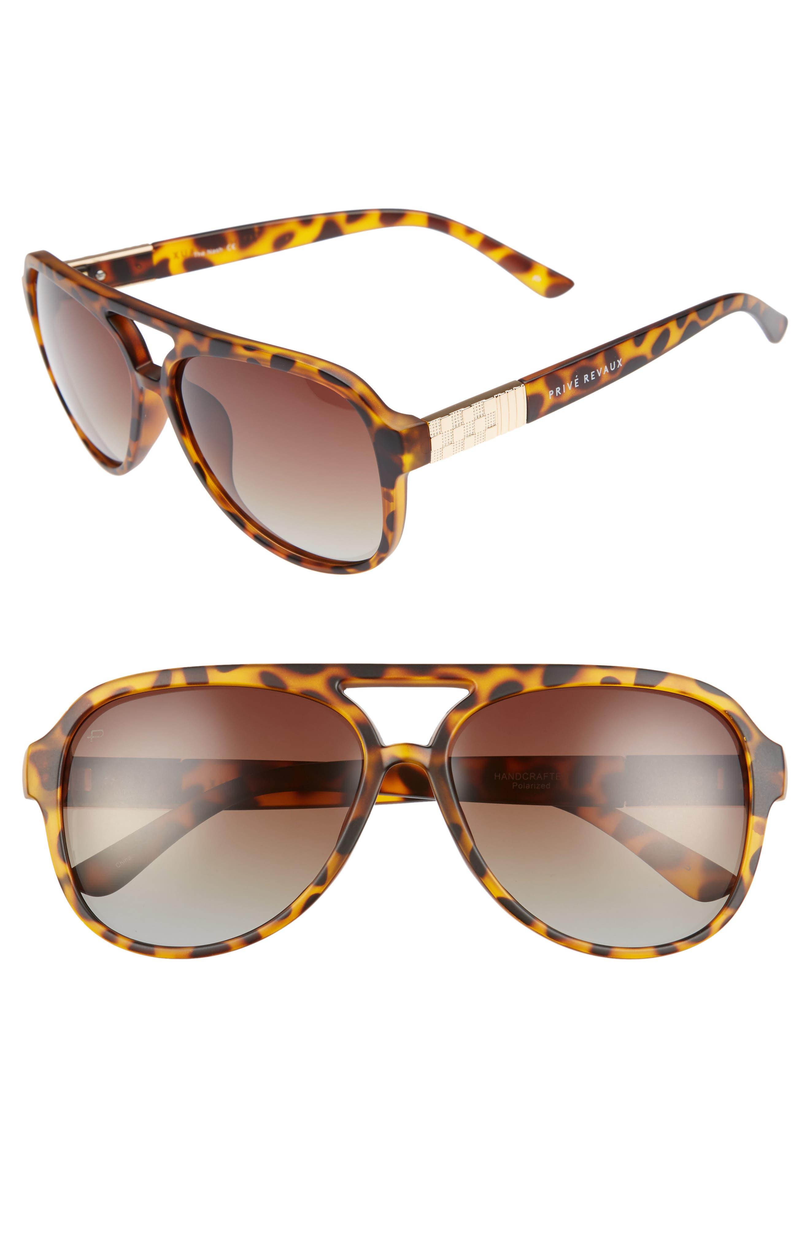 Privé Revaux The Nash 58mm Aviator Sunglasses,                         Main,                         color, Brown