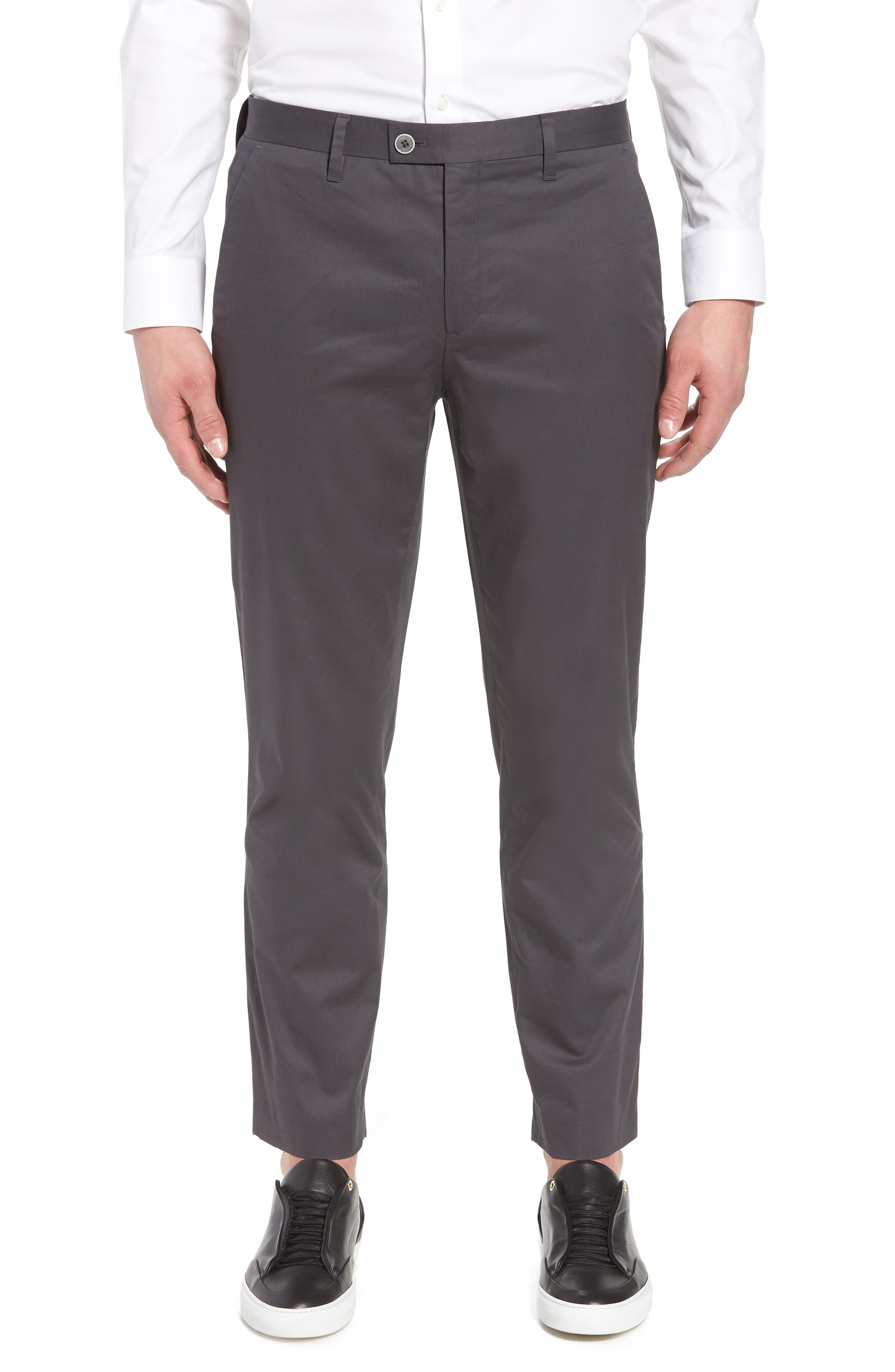 Cliftro Flat Front Stretch Cotton Pants,                             Main thumbnail 1, color,                             Light Grey