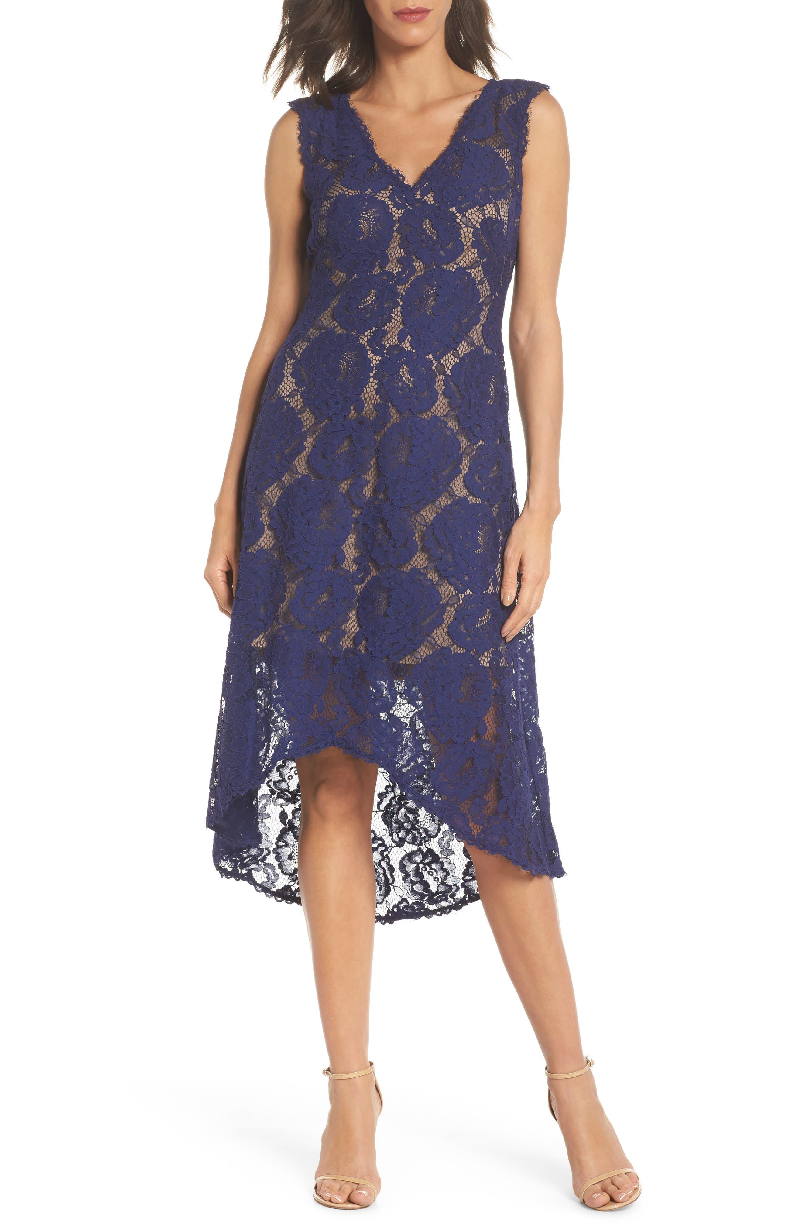 High/Low Lace Dress,                             Main thumbnail 1, color,                             Notte/ Nude