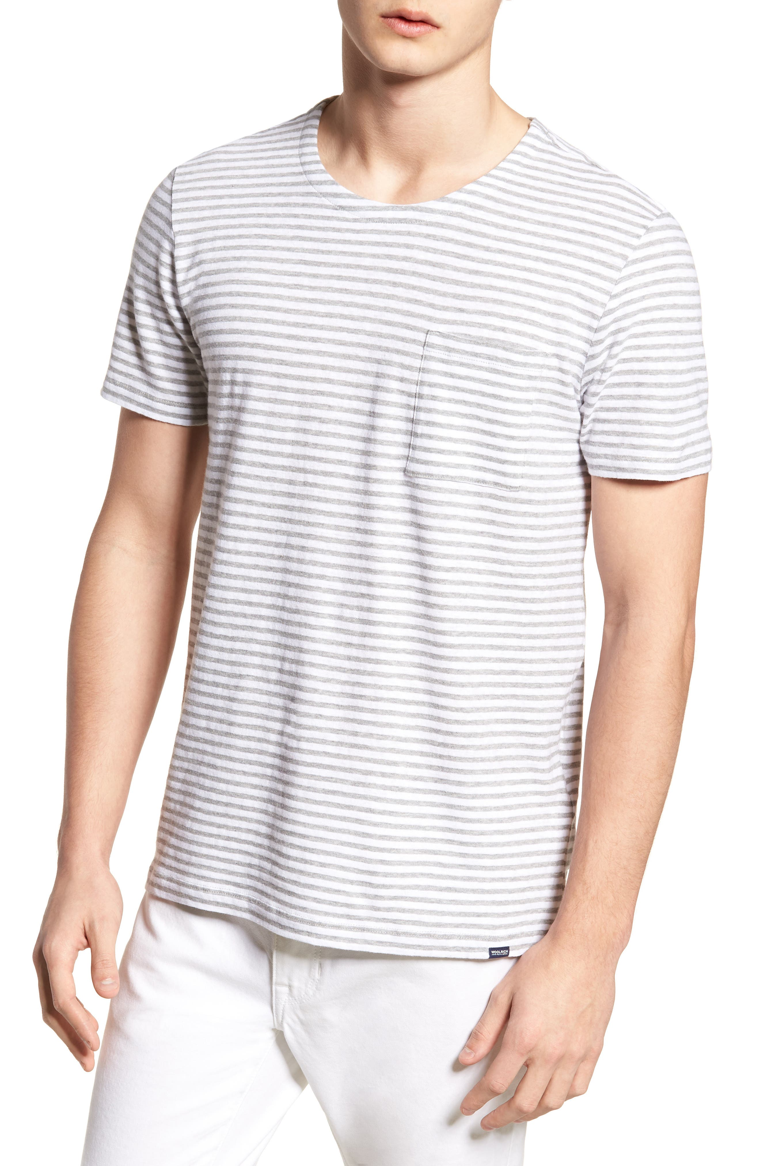 & Bros. Stripe Crewneck T-Shirt,                             Main thumbnail 1, color,                             White Stripe