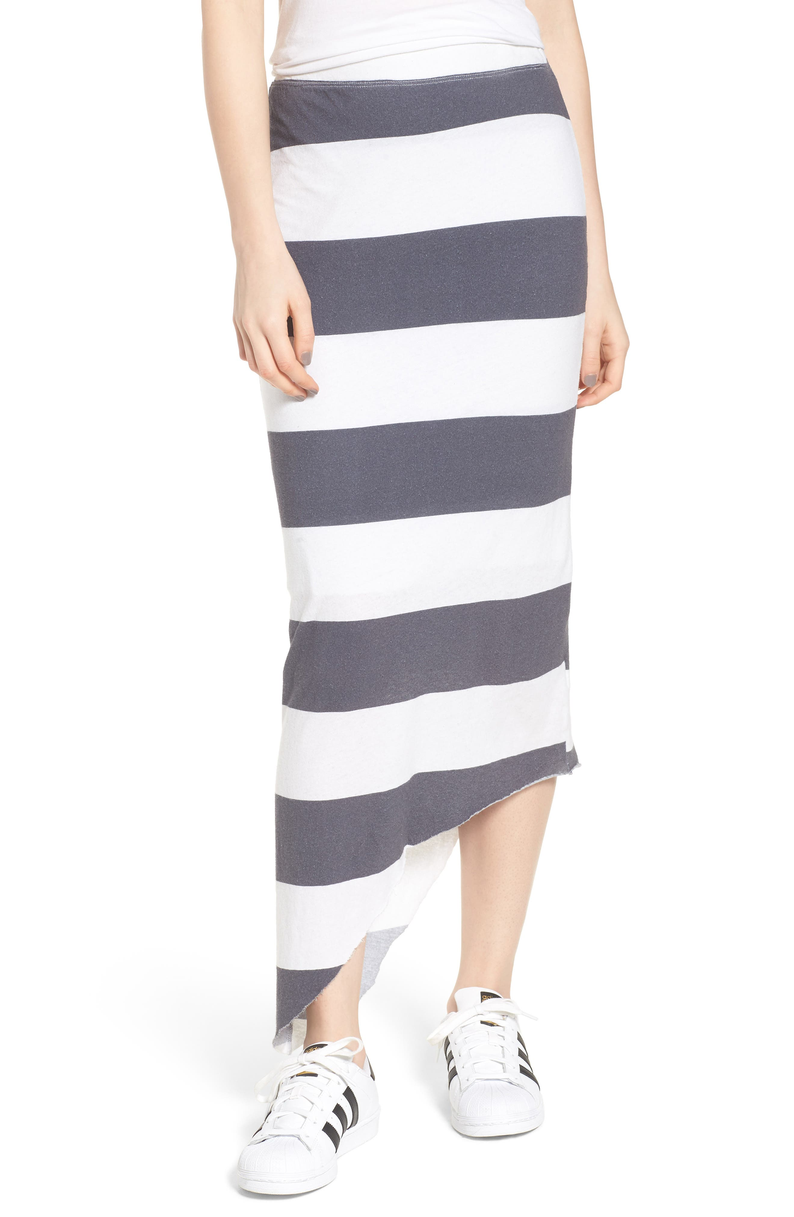 Stripe Asymmetrical Skirt,                             Main thumbnail 1, color,                             Carbon Rugby