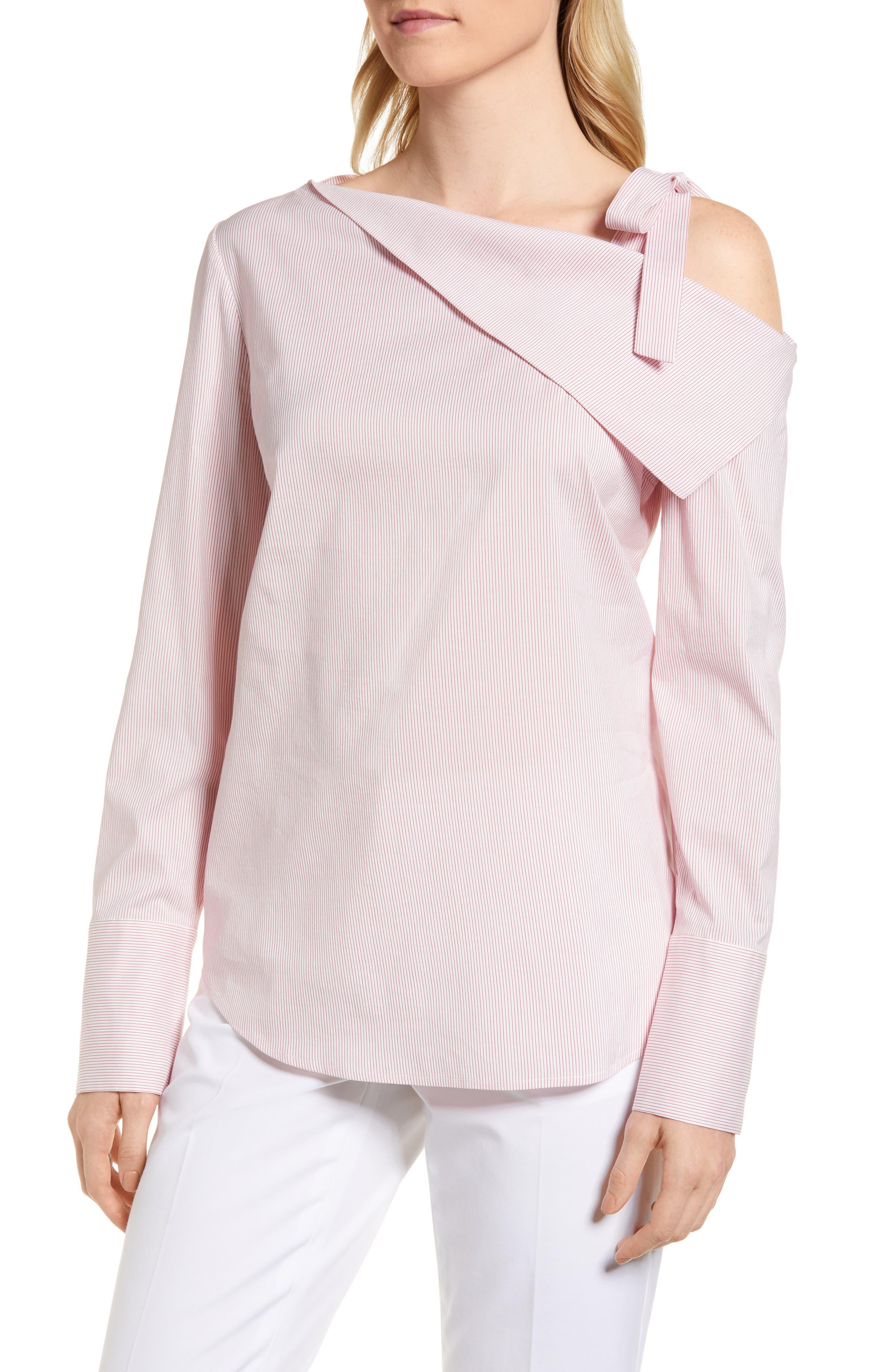 One-Shoulder Shirt,                             Main thumbnail 1, color,                             Pink Honey Chic Stripe