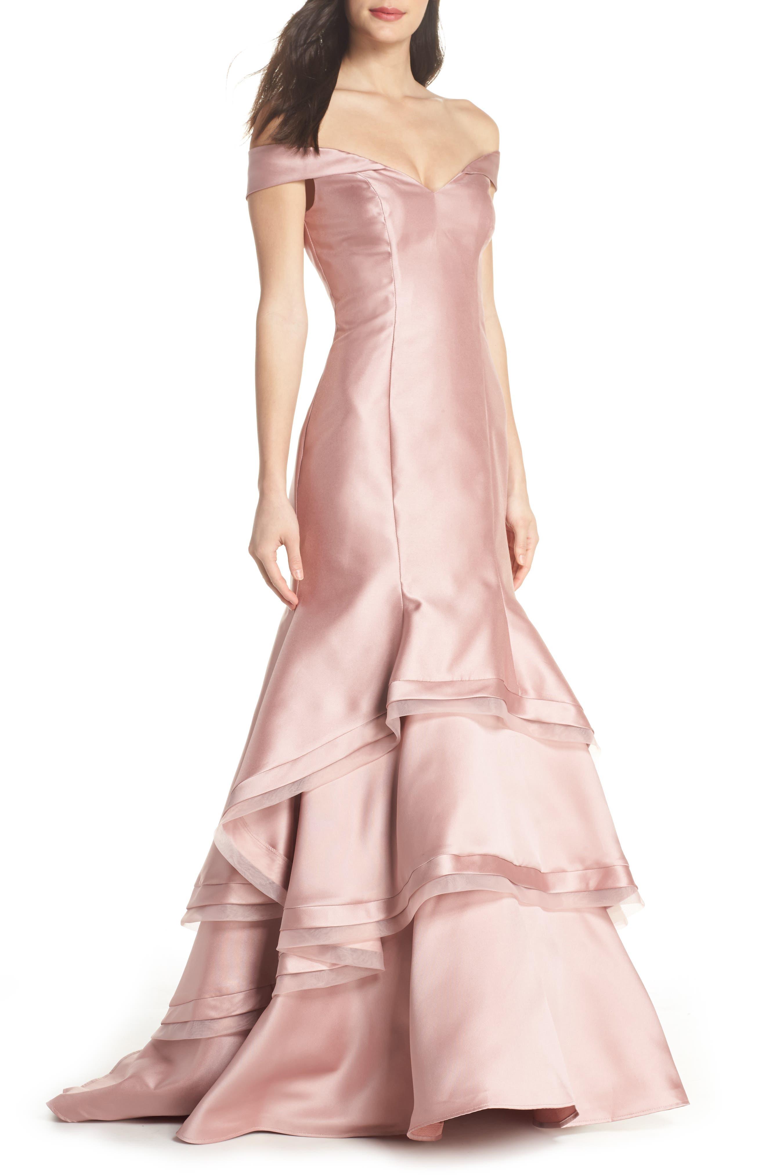 Off the Shoulder Ruffle Hem Mermaid Gown,                             Main thumbnail 1, color,                             Rose