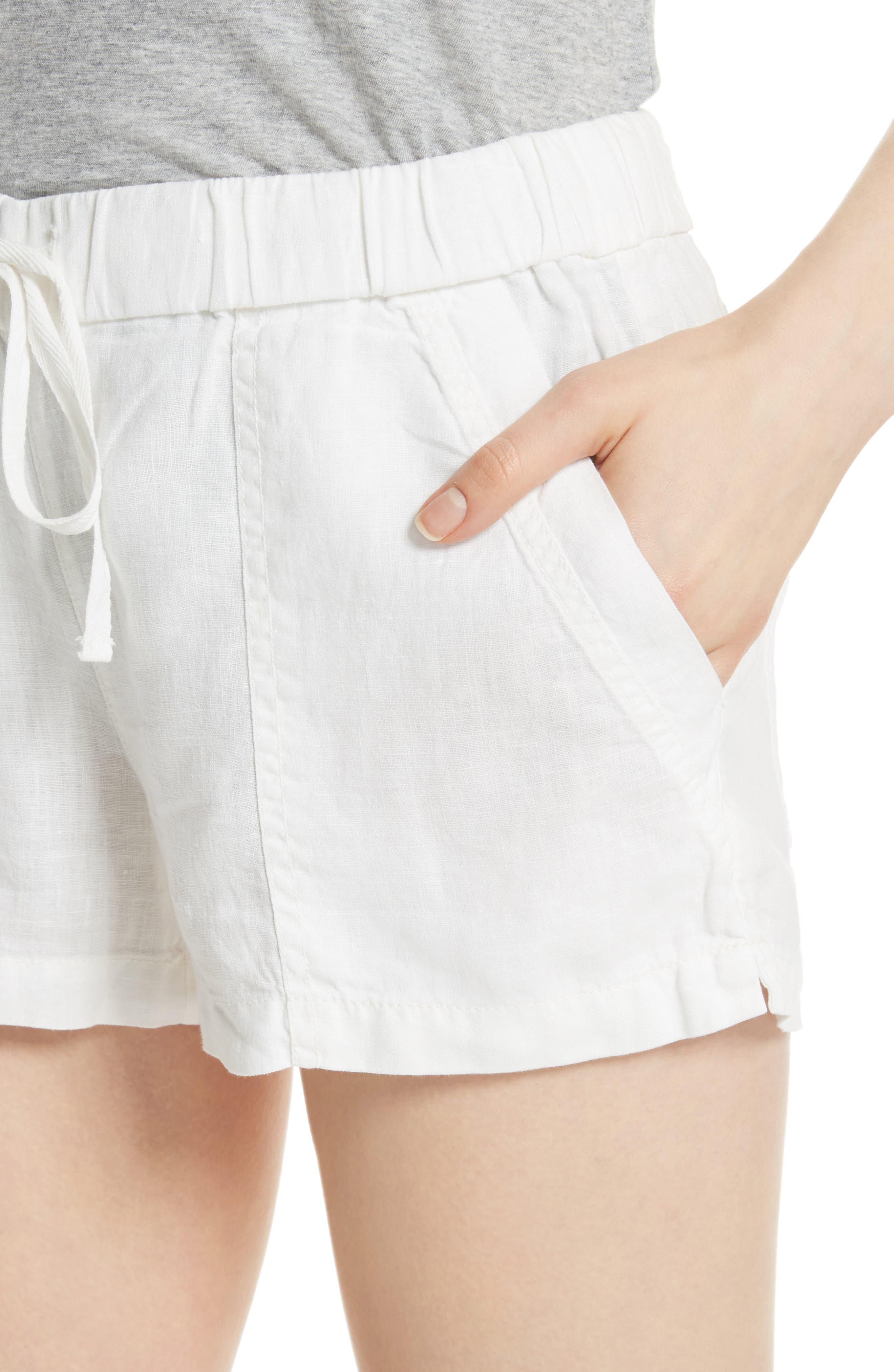 Fosette Linen Drawstring Shorts,                             Alternate thumbnail 4, color,                             Porcelain