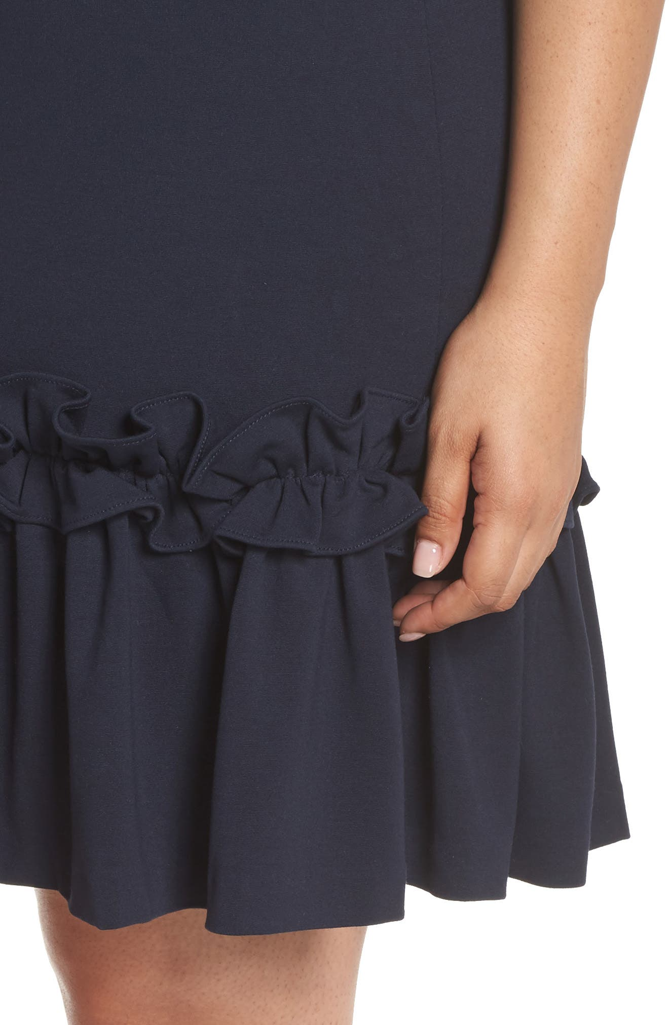 Ruffle Hem Sheath Dress,                             Alternate thumbnail 4, color,                             Navy Sapphire