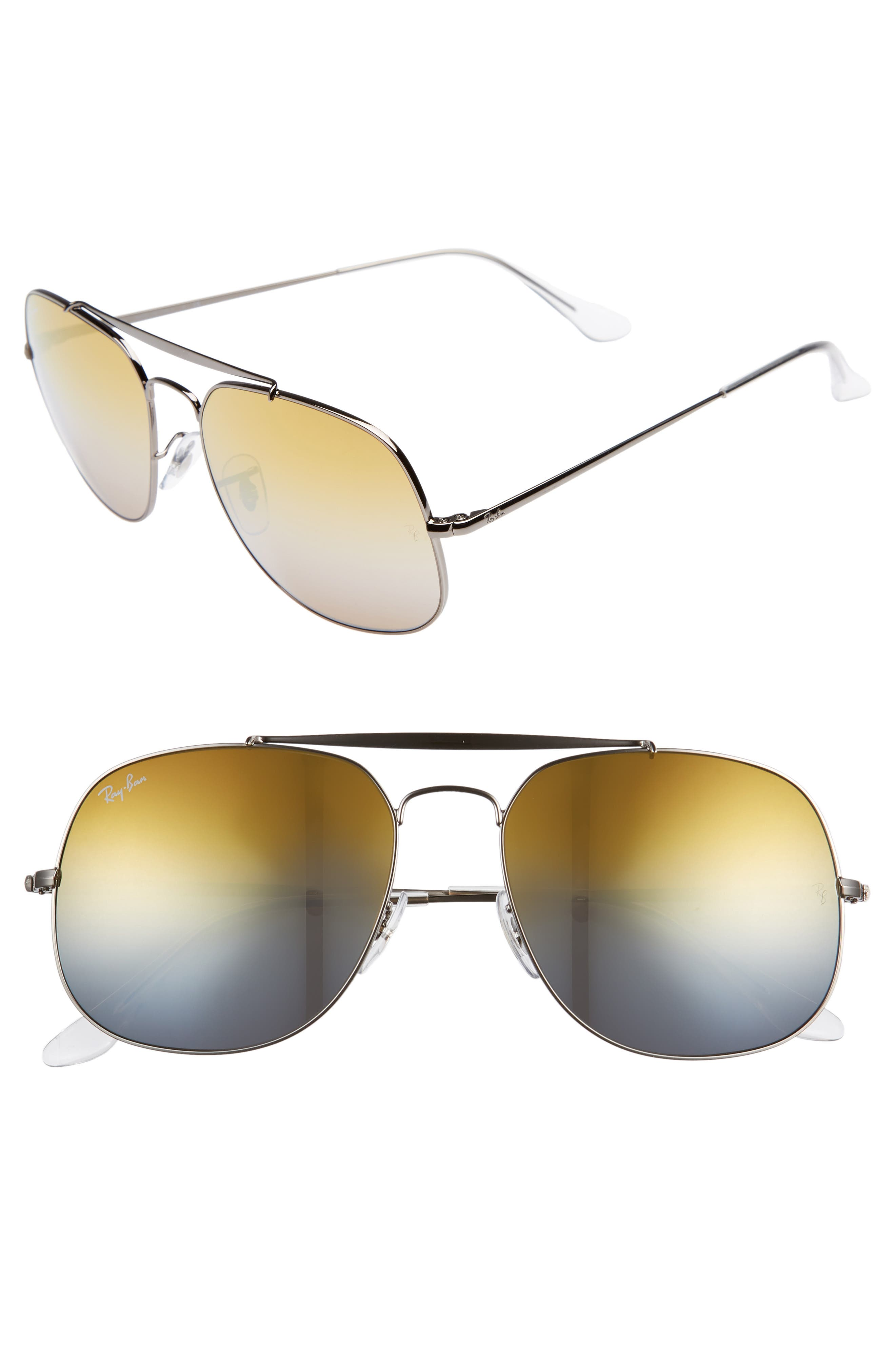 57mm Aviator Sunglasses,                         Main,                         color, Grey Orange