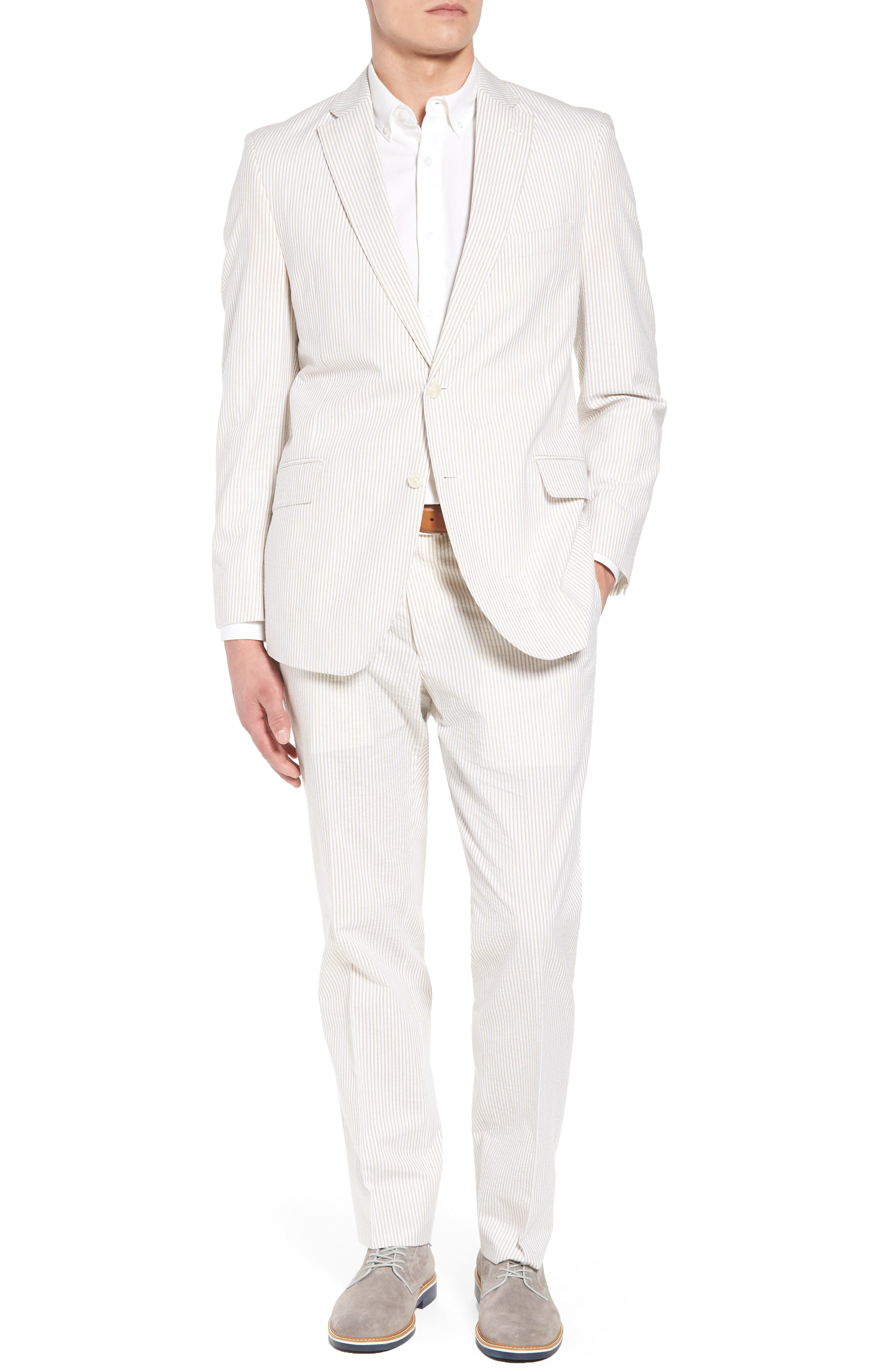 Jack AIM Classic Fit Seersucker Sport Coat,                             Alternate thumbnail 7, color,                             Tan And White