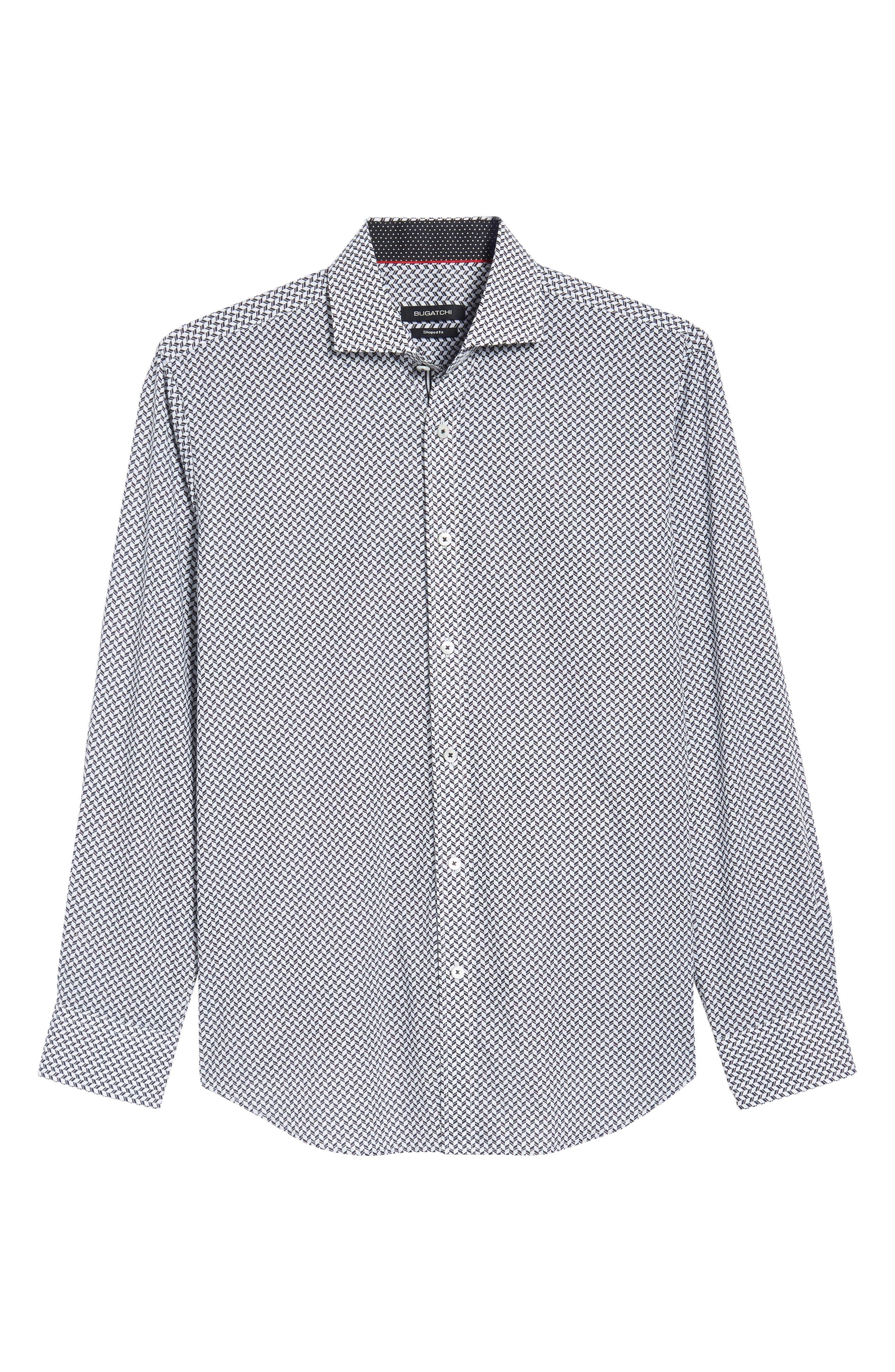 Shaped Fit Chevron Print Sport Shirt,                             Alternate thumbnail 6, color,                             Black