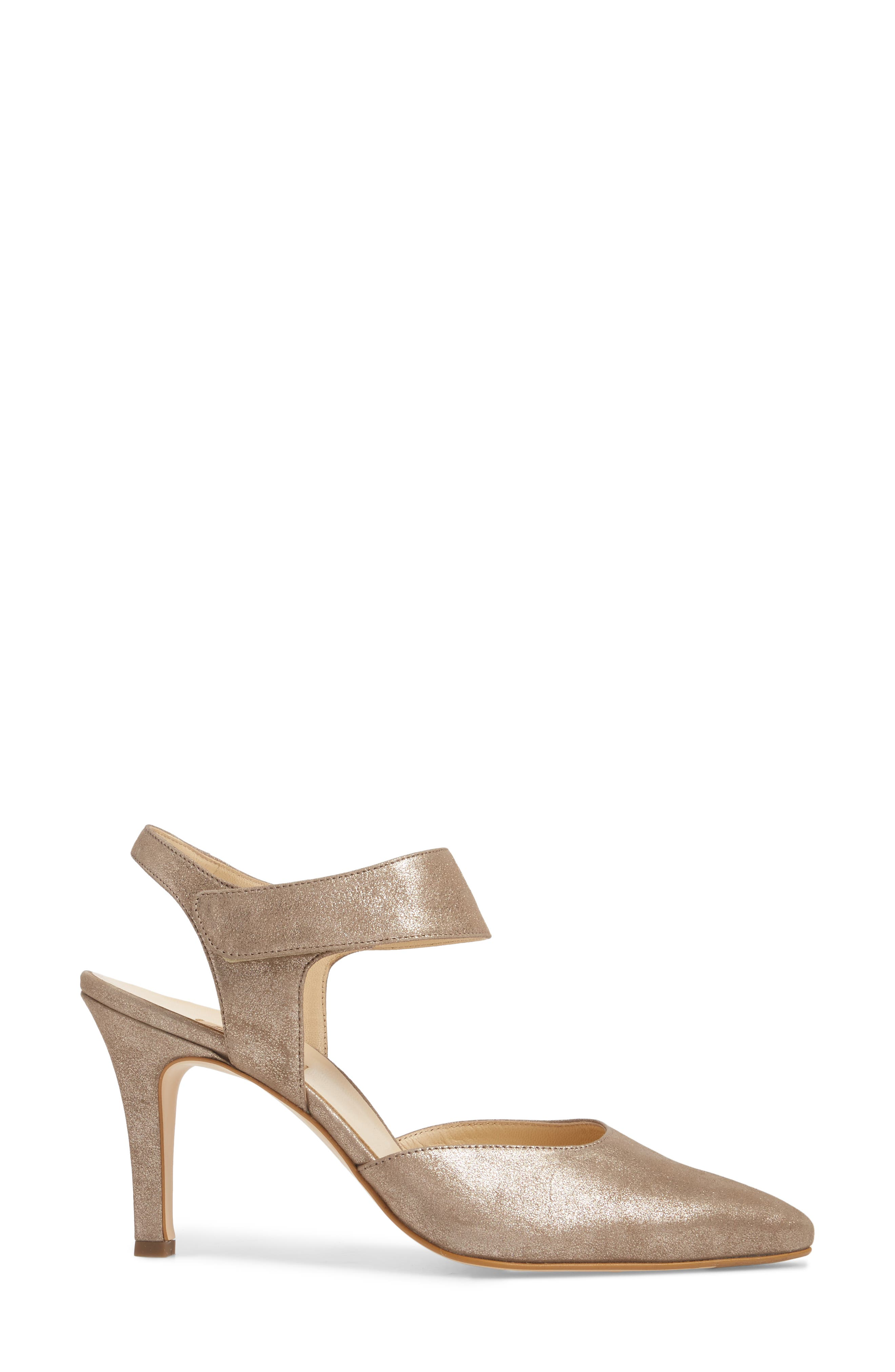 Nicolette Pointy Toe Pump,                             Alternate thumbnail 3, color,                             Champagne Metallic