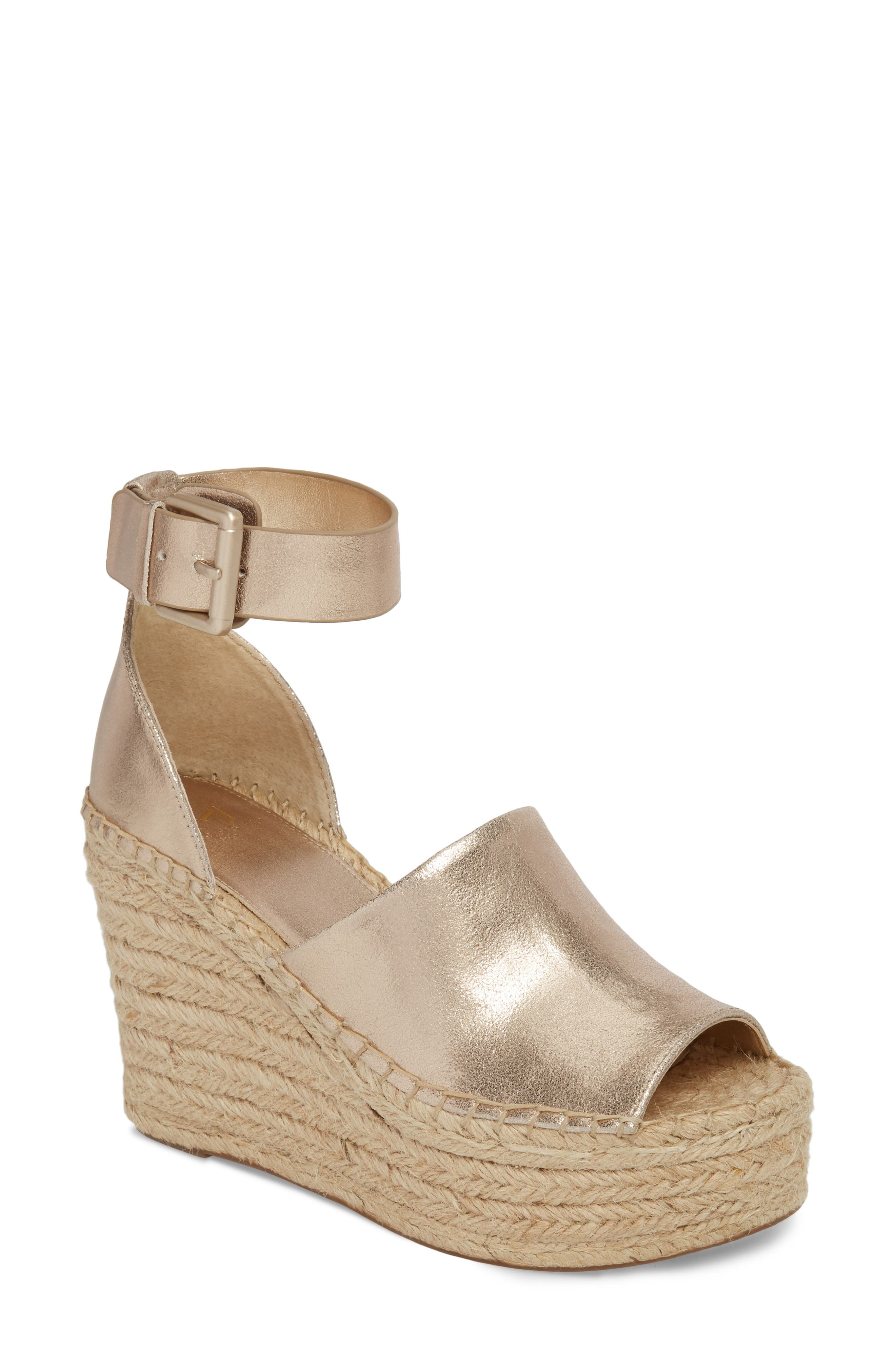 Adalyn Espadrille Wedge Sandal,                             Main thumbnail 1, color,                             Gold Leather