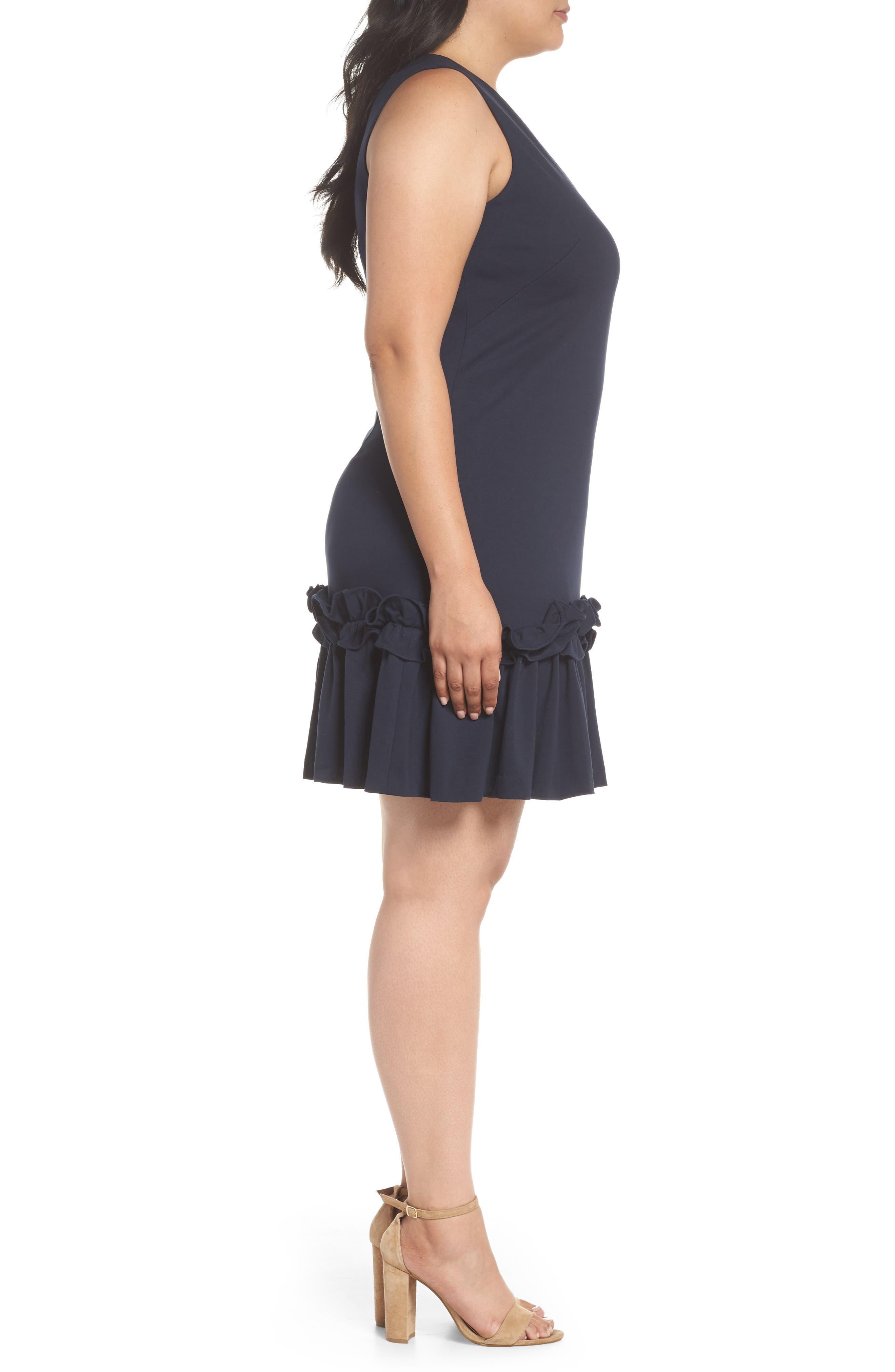 Ruffle Hem Sheath Dress,                             Alternate thumbnail 3, color,                             Navy Sapphire