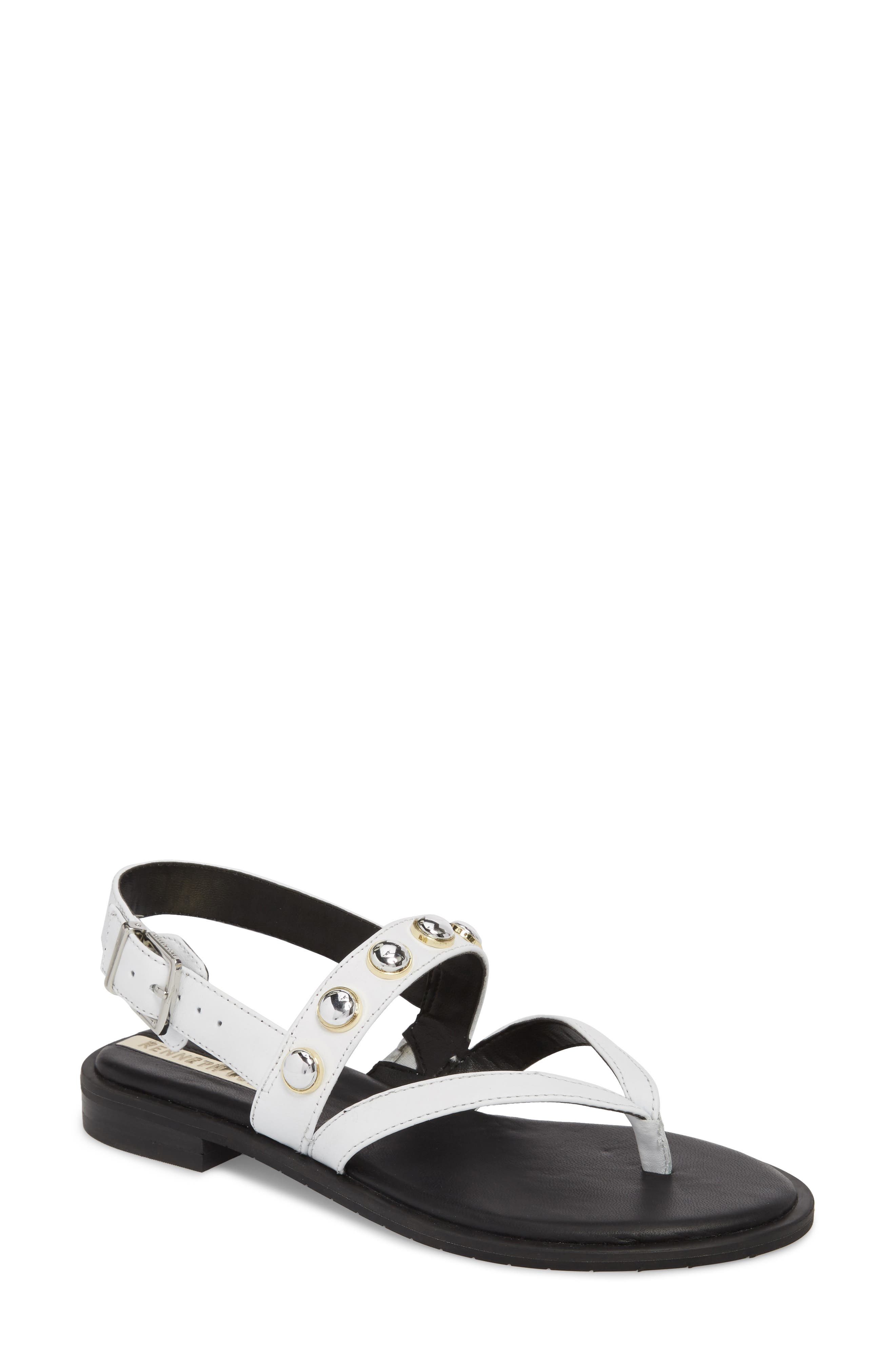 Tama Studded Sandal,                             Main thumbnail 1, color,                             White Leather