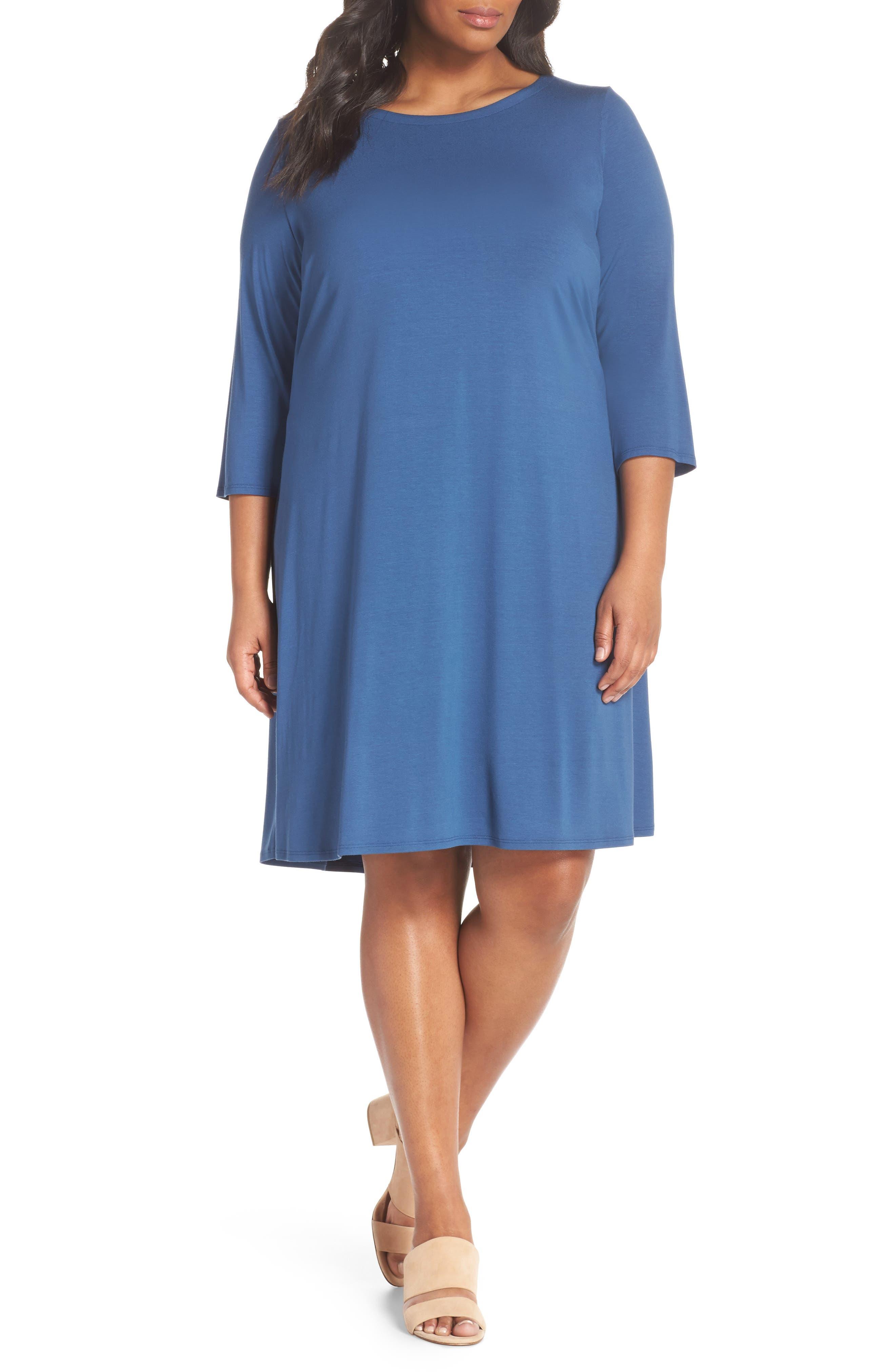 Jewel Neck Tie Back Dress,                         Main,                         color, Denim