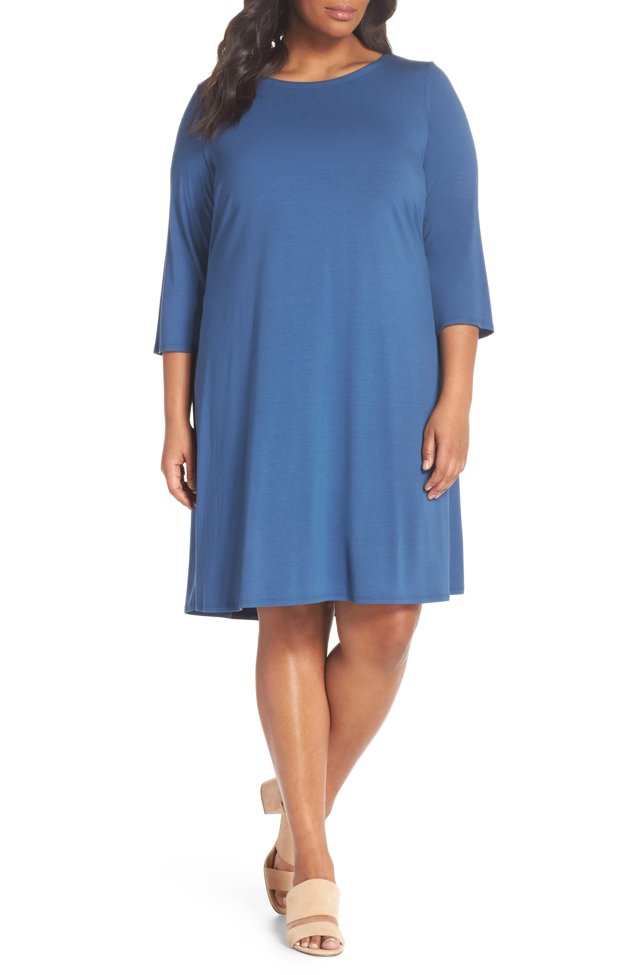 Eileen Fisher Jewel Neck Tie Back Dress (Plus Size)