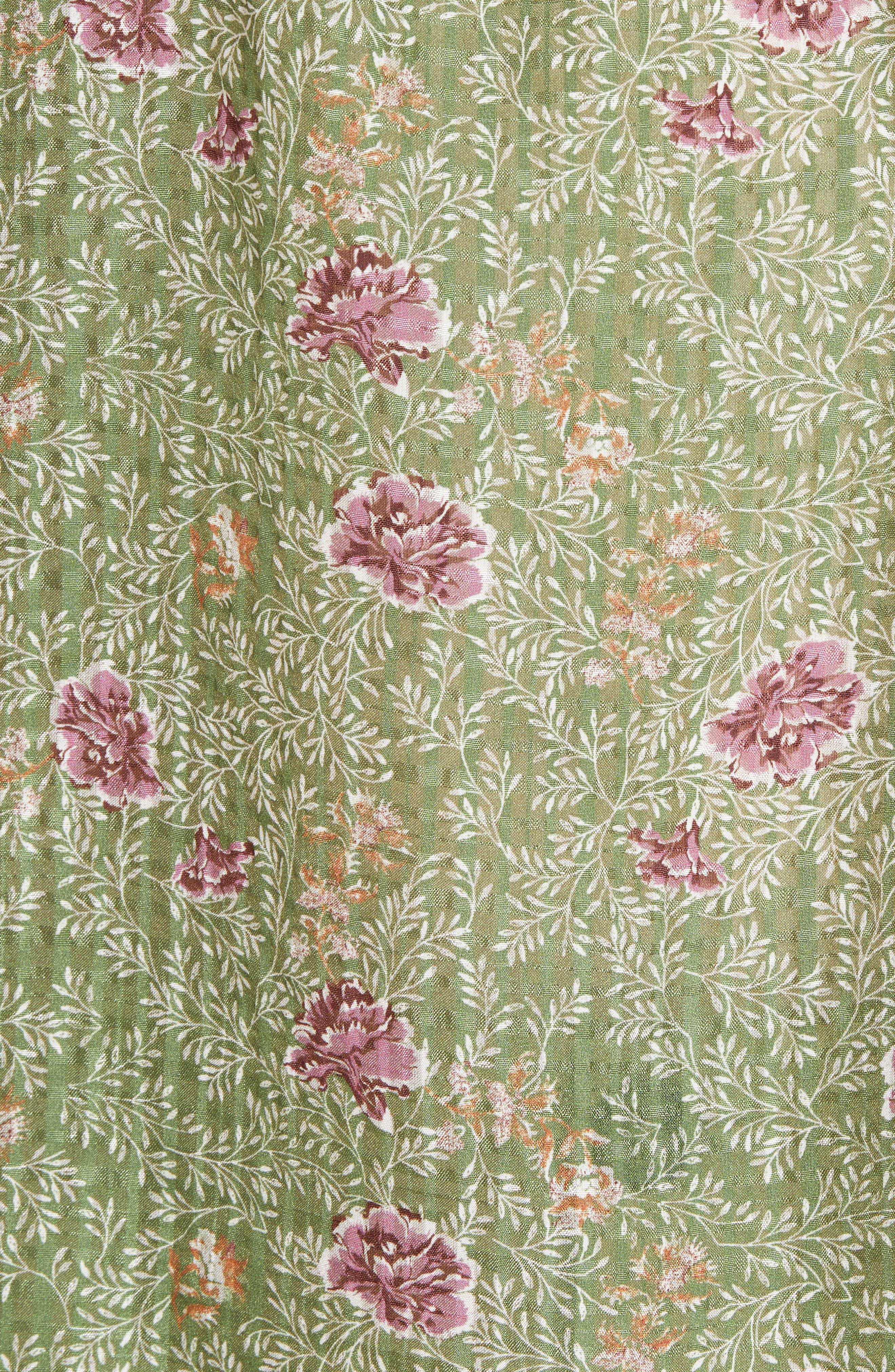 Floral Flutter Sleeve Silk Top,                             Alternate thumbnail 6, color,                             Green Vineyard Jakarta Floral