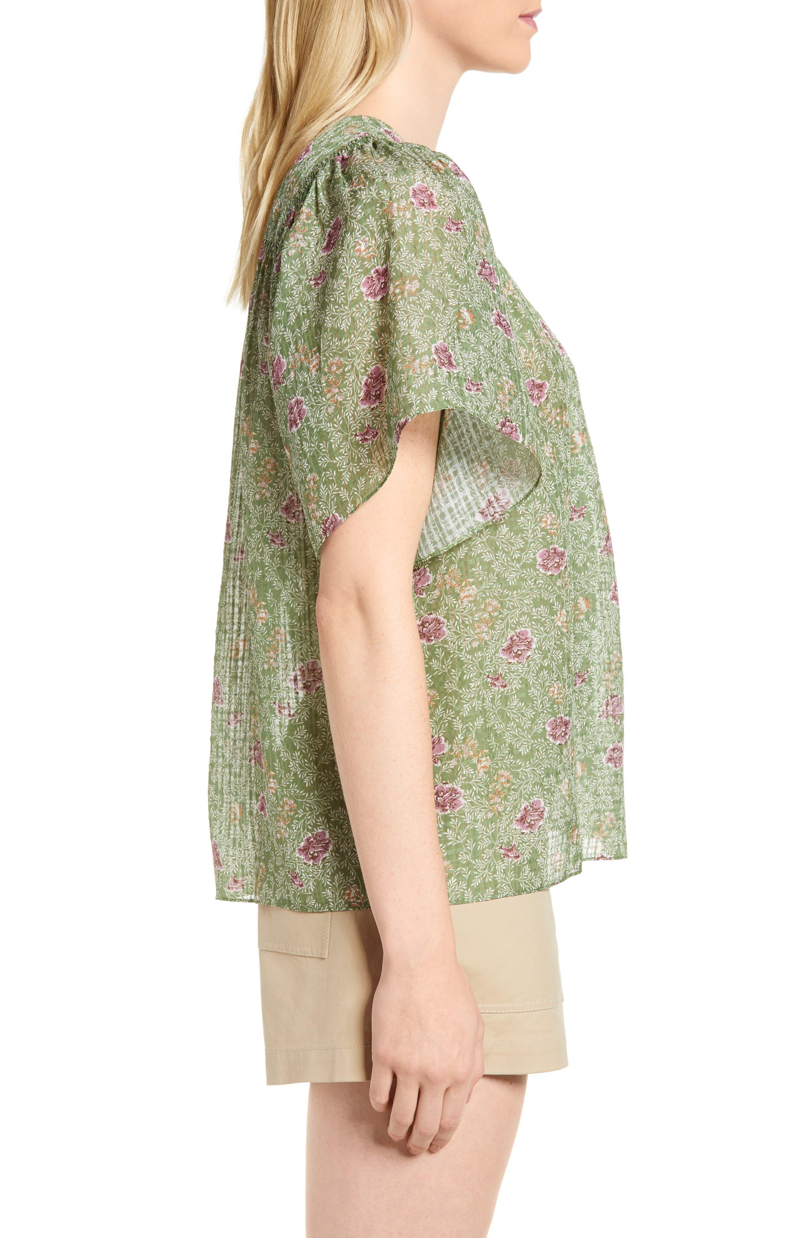 Floral Flutter Sleeve Silk Top,                             Alternate thumbnail 3, color,                             Green Vineyard Jakarta Floral