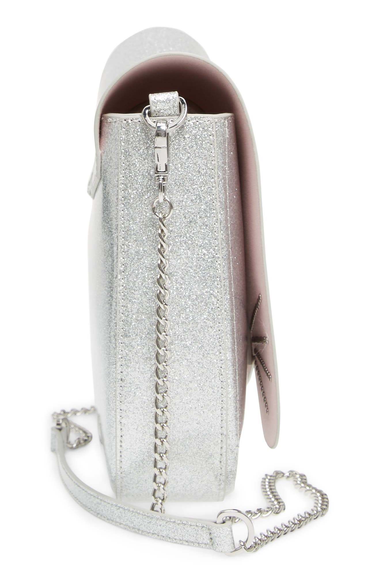 Hildaa Glitter Faux Leather Crossbody Bag,                             Alternate thumbnail 5, color,                             Silver