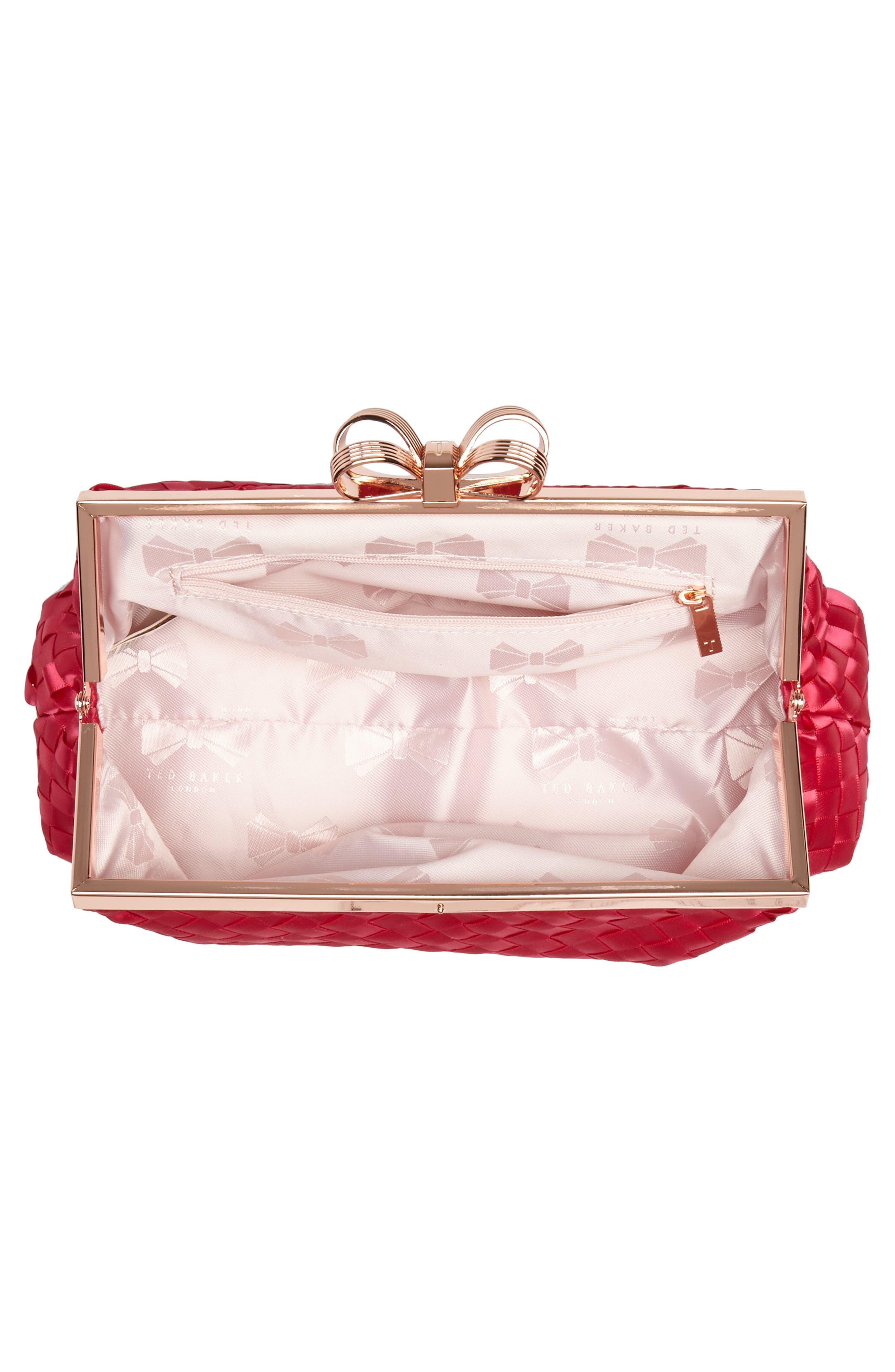 Alaina Woven Frame Clutch,                             Alternate thumbnail 3, color,                             Deep Pink