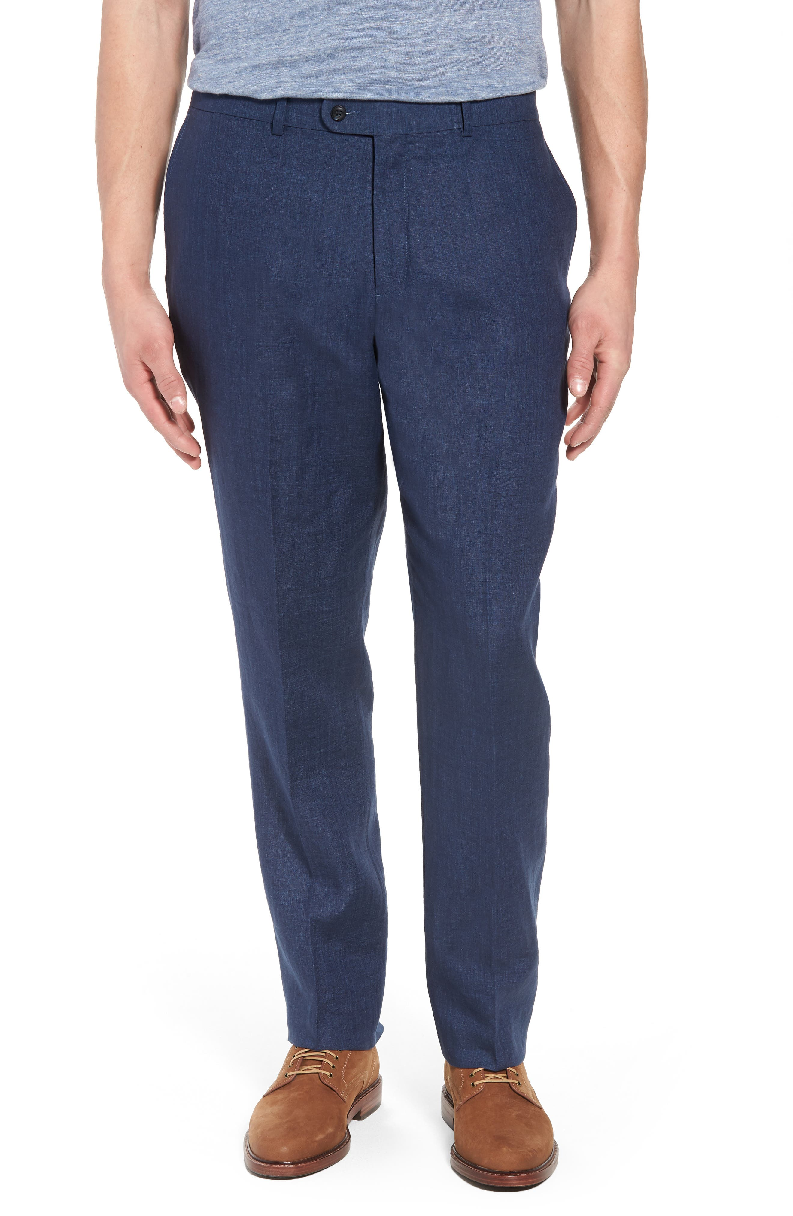 Andrew AIM Flat Front Linen Trousers,                             Main thumbnail 1, color,                             Navy