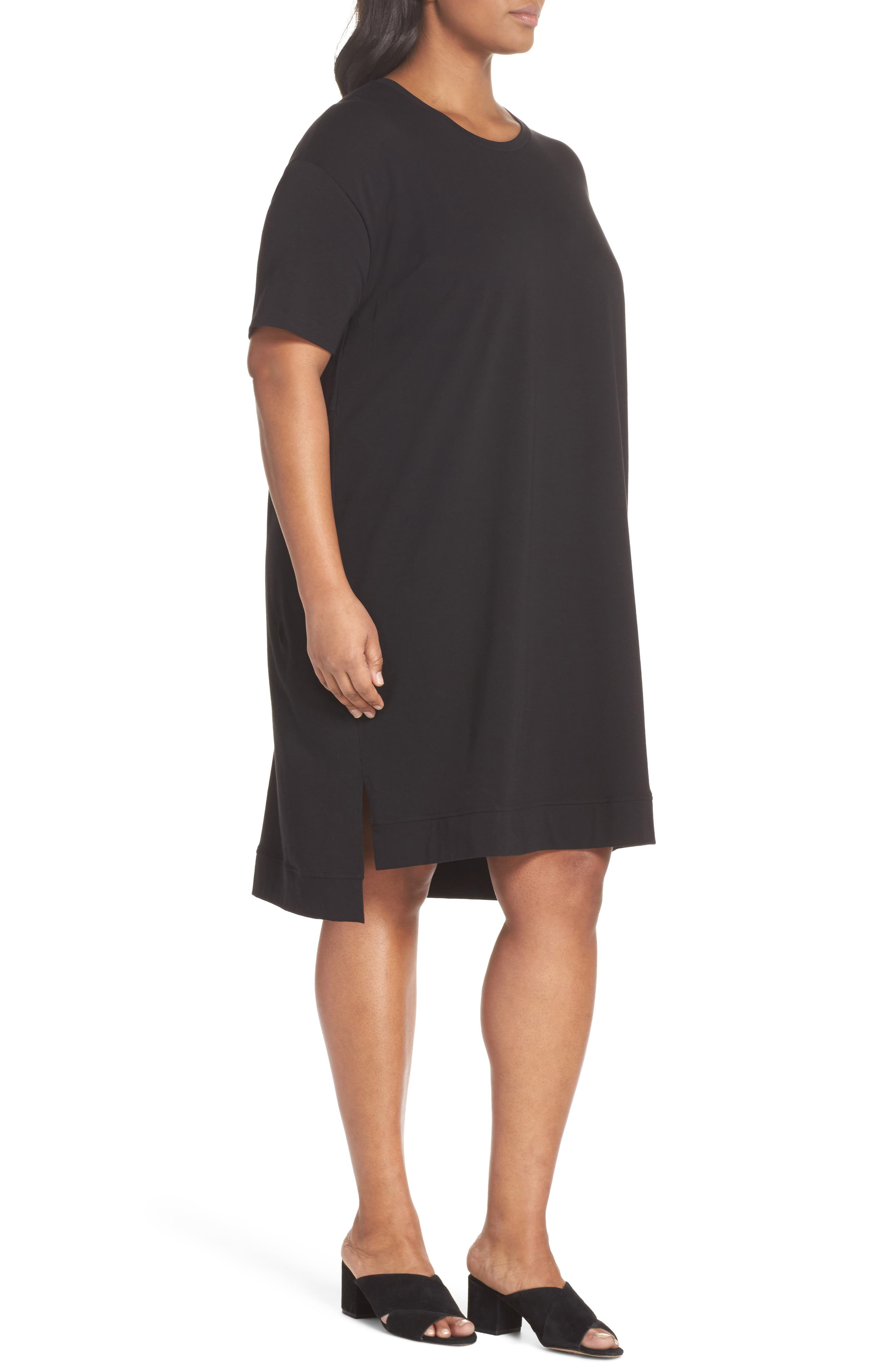 Knit Jersey Dress,                             Alternate thumbnail 3, color,                             Black