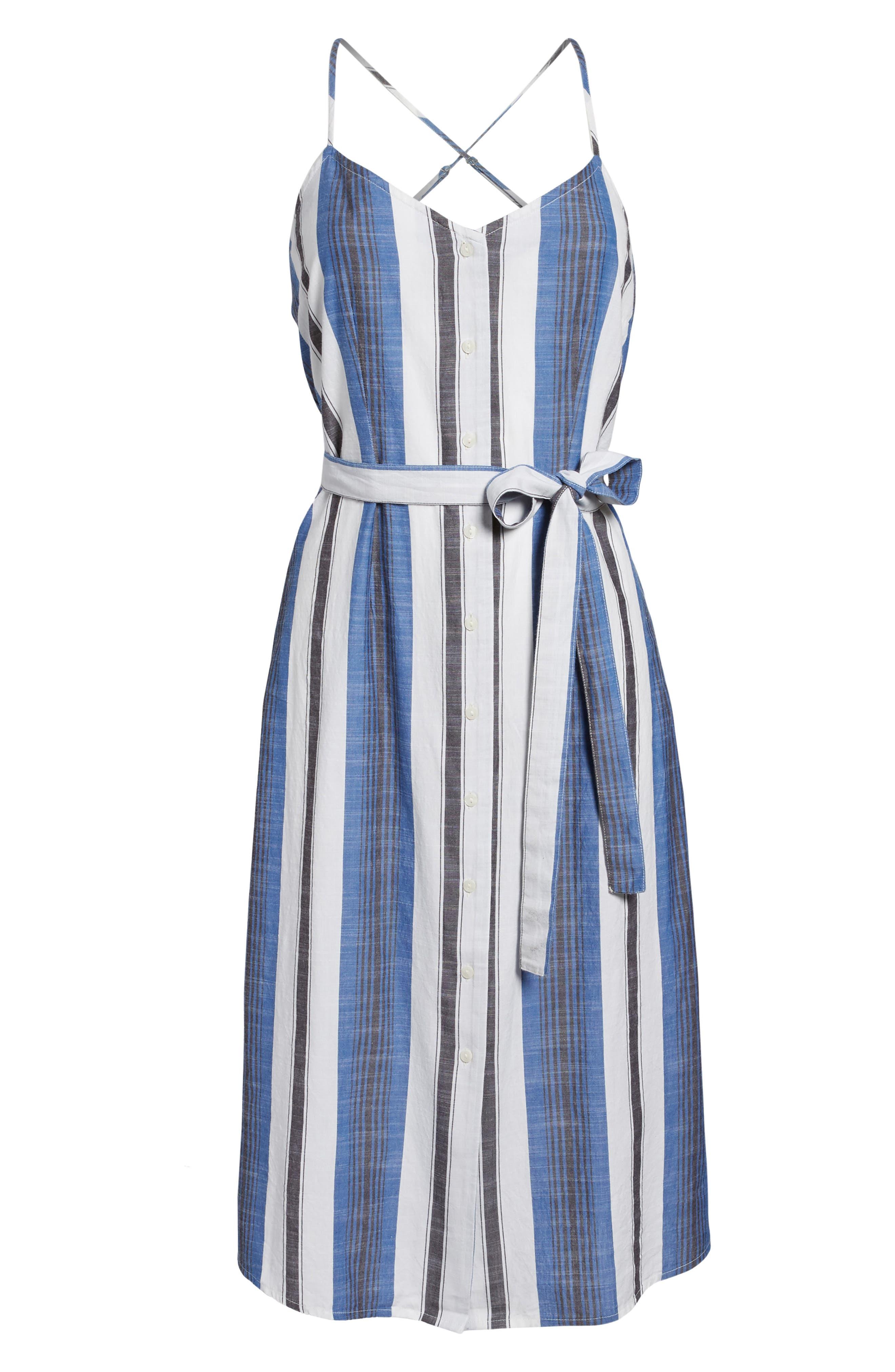 Stripe Cotton Sundress,                             Alternate thumbnail 6, color,                             Blue Multi