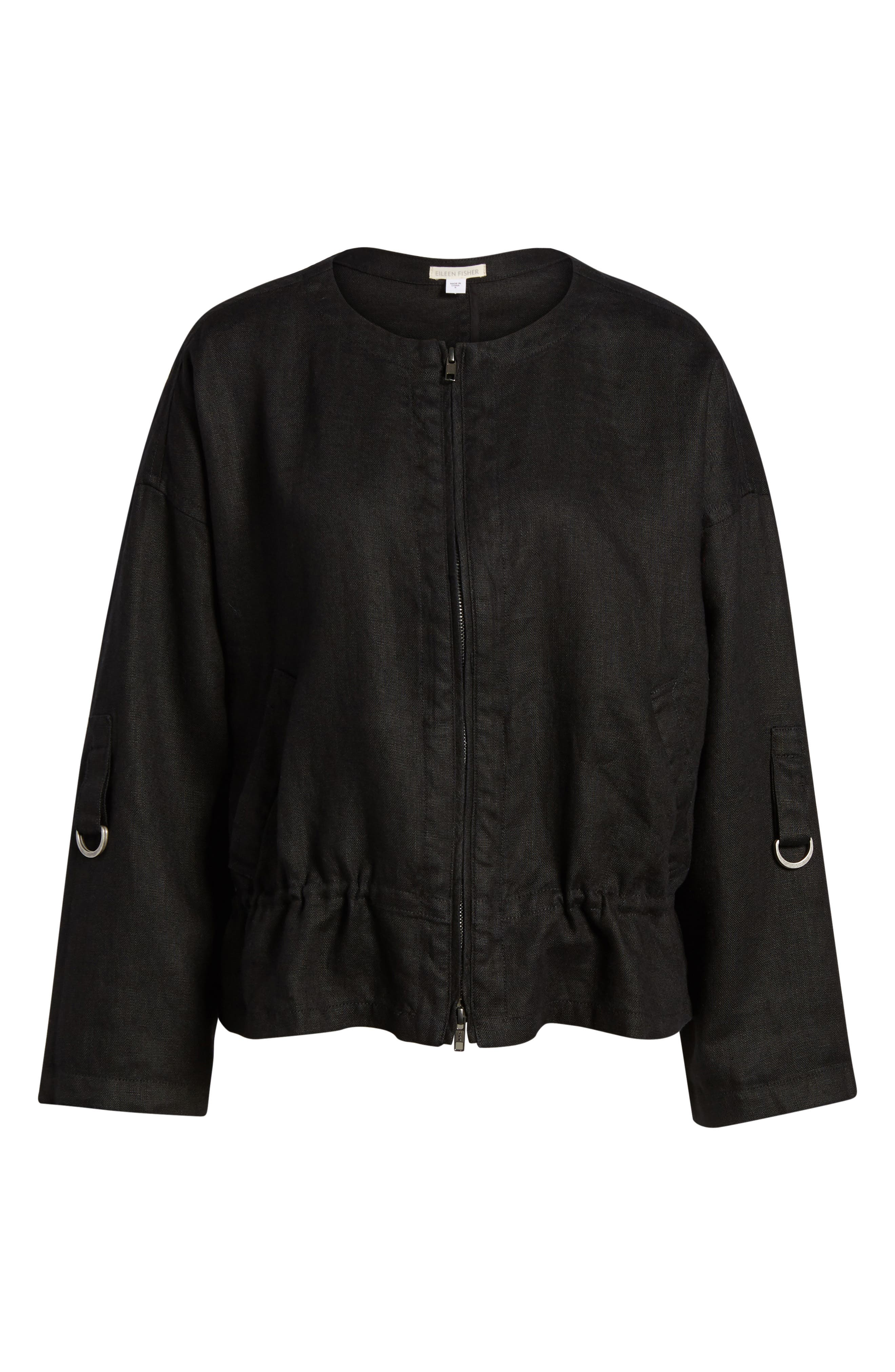 Drawstring Organic Linen Jacket,                             Alternate thumbnail 7, color,                             Black