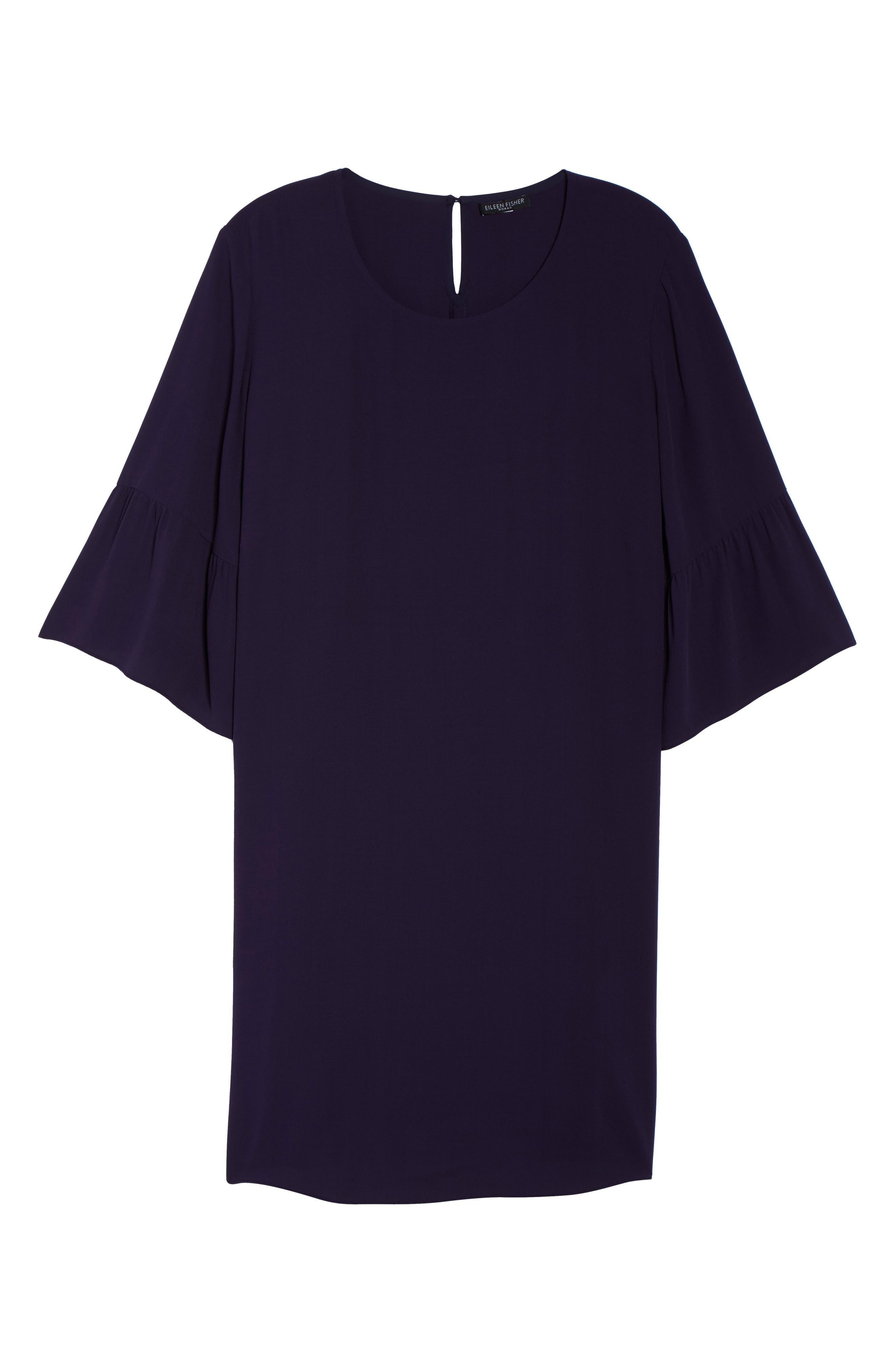Flare Sleeve Silk Shift Dress,                             Alternate thumbnail 6, color,                             Salt Lake